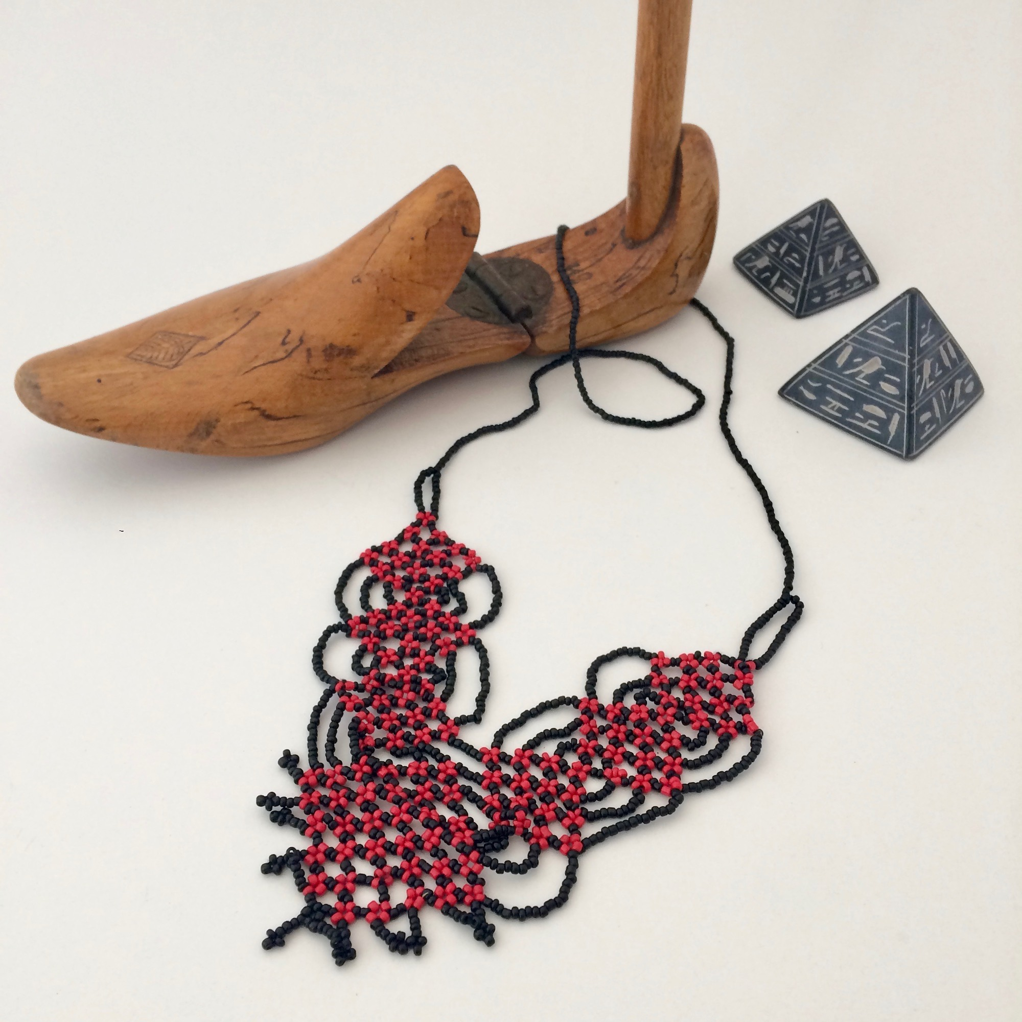 Bedouin Red & Black Beaded Necklace