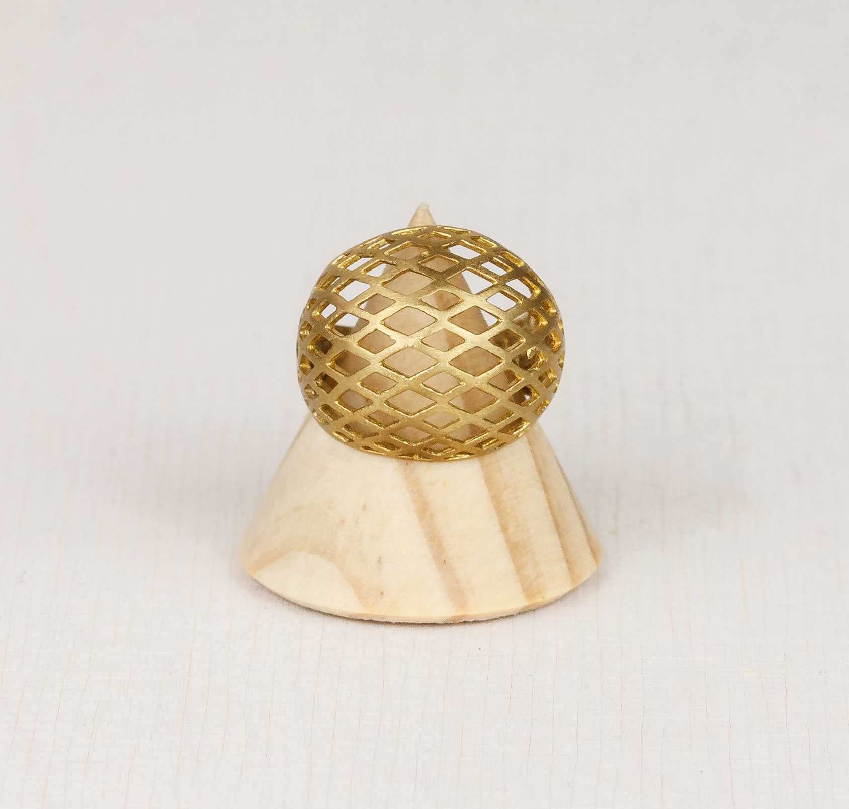 Mesh Sphere Adjustable Brass Ring by State of A