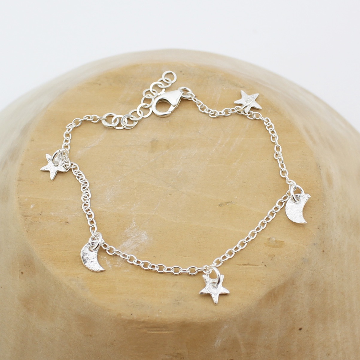 Silver Star & Moon Charm bracelet by Lucy Kemp