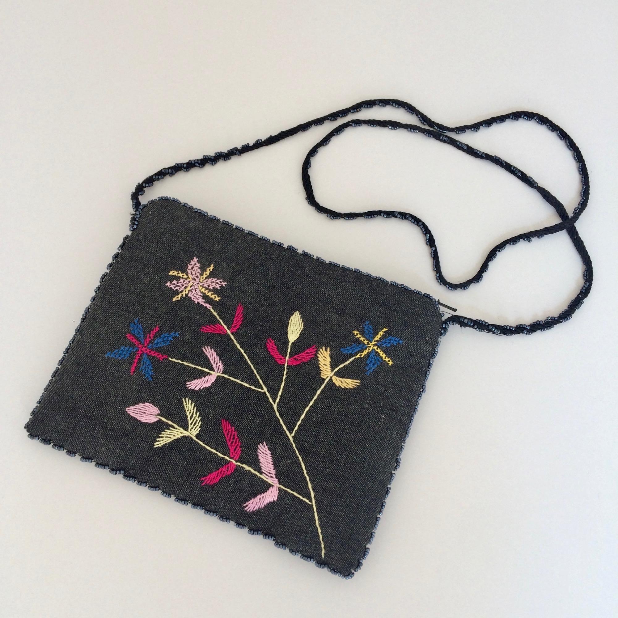 Embroidered Grey Denim Small Shoulder Bag