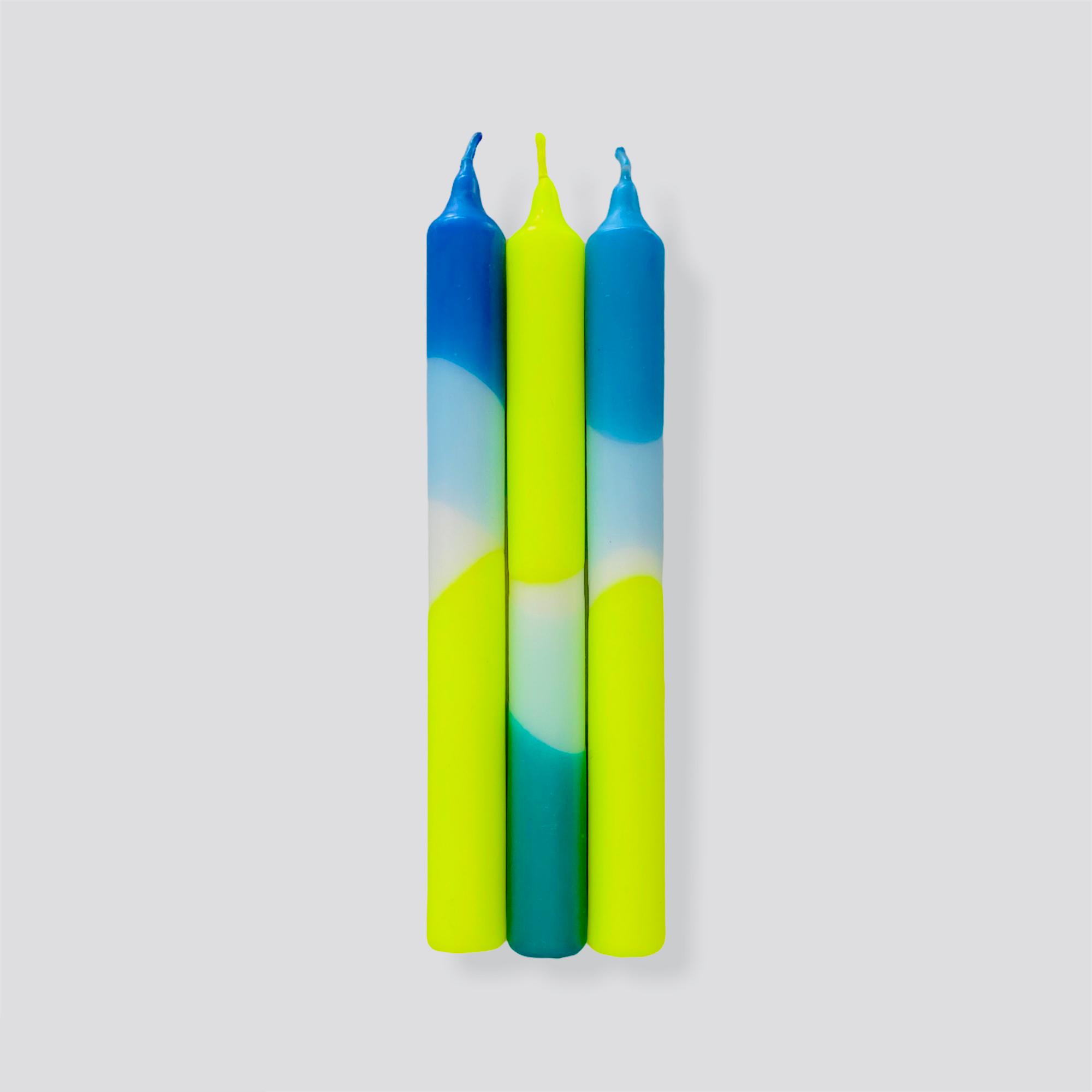 Dip Dye Neon Ocean Spirit Dinner Candles