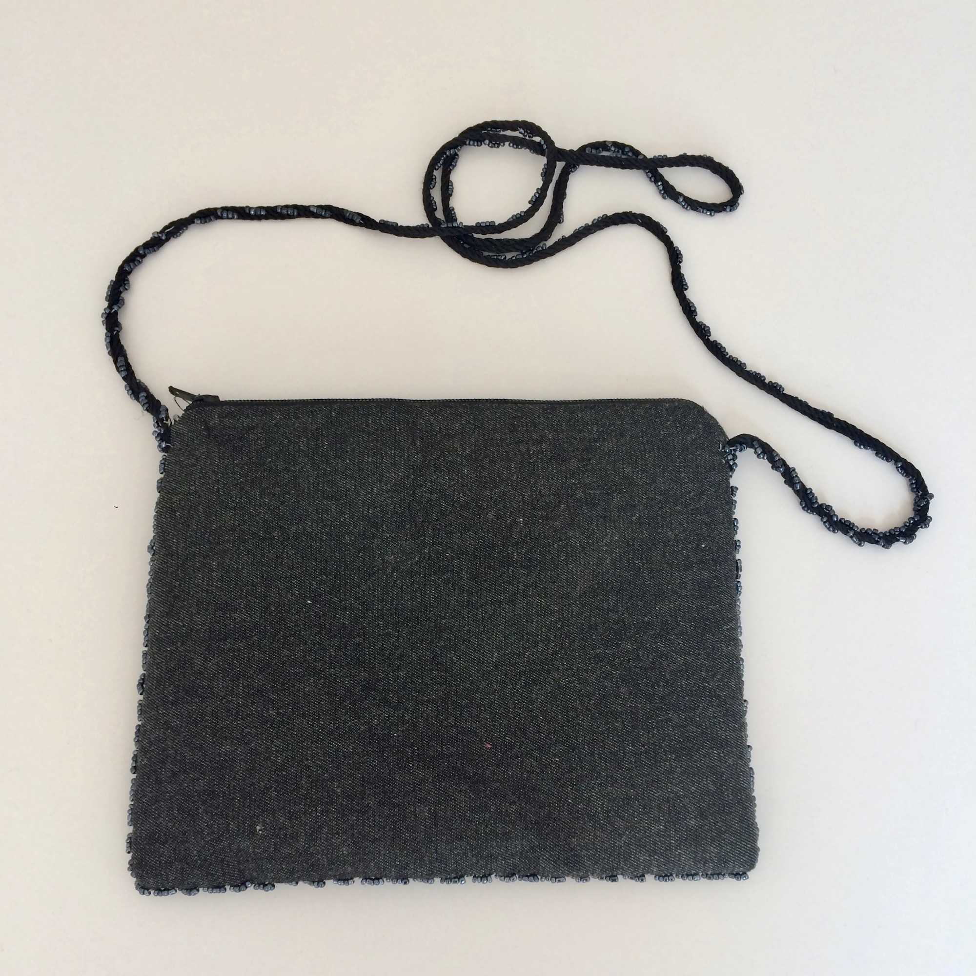 Embroidered Grey Denim Small Shoulder Bag