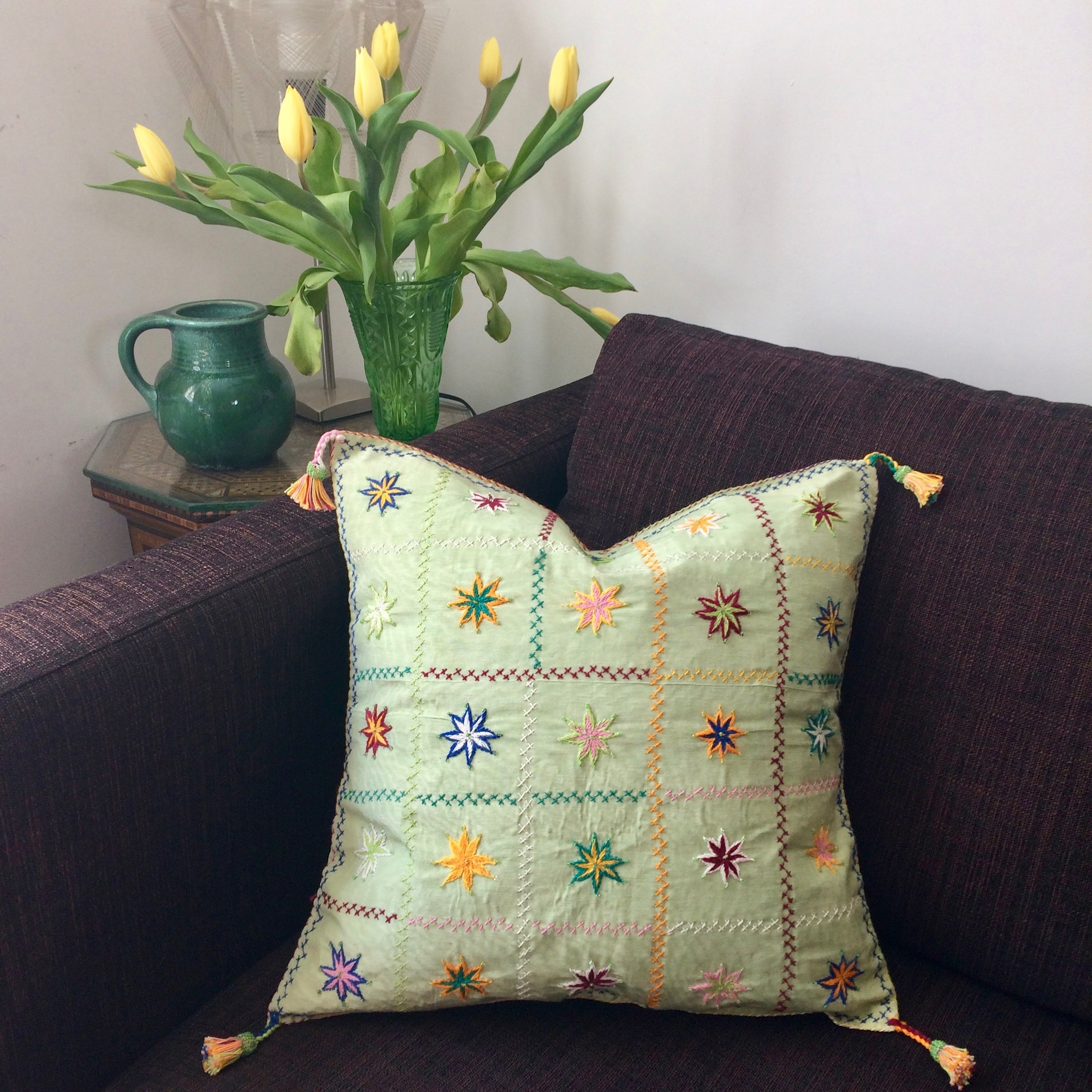 Bedouin Embroidered & Beaded Cushion Cover in Pale Green