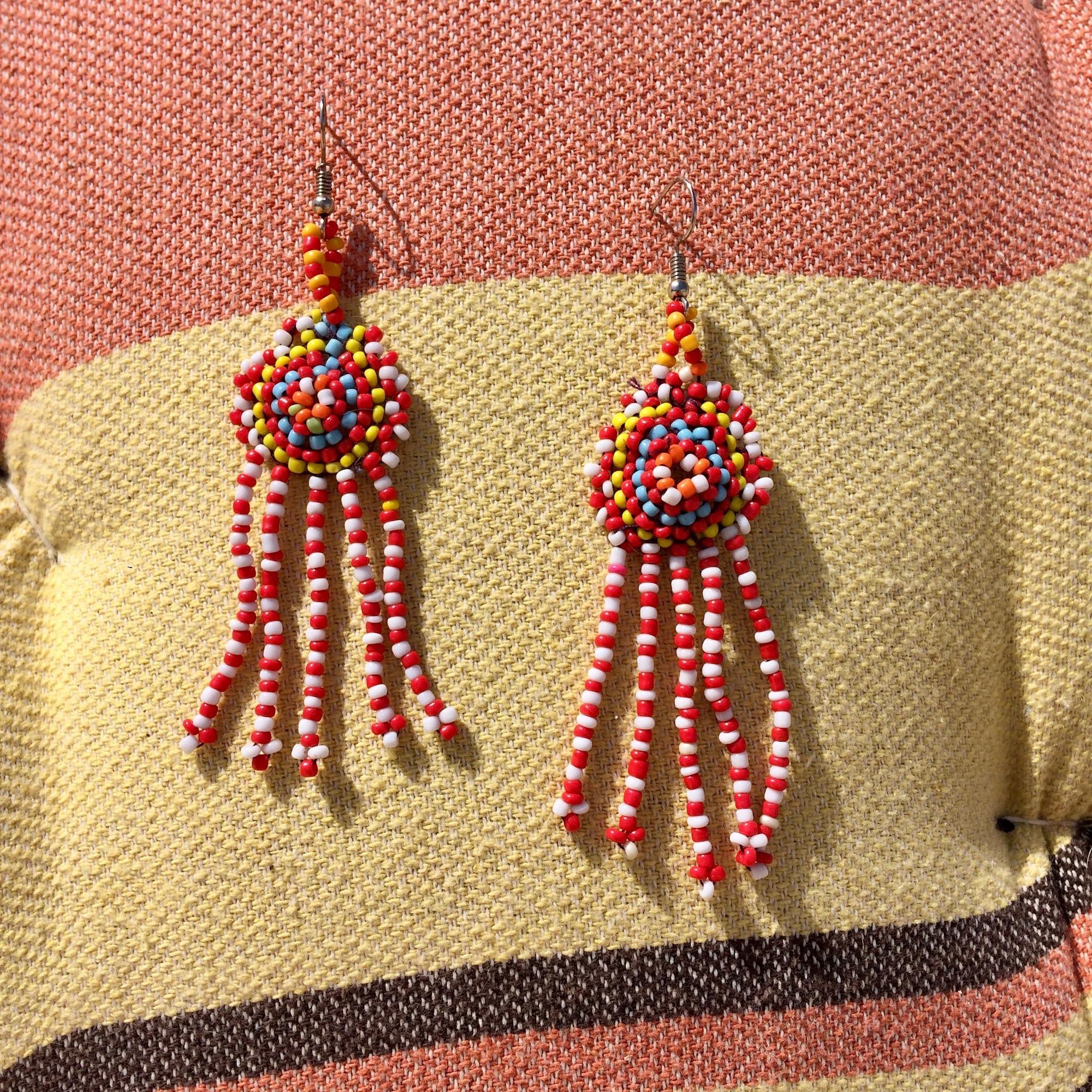 Bedouin Round Beaded Earrings