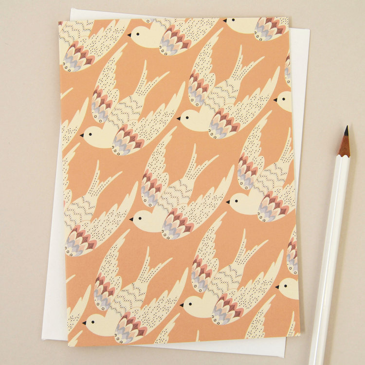 'Deco Birds in Coral' Card by Elvira Van Vredenburgh