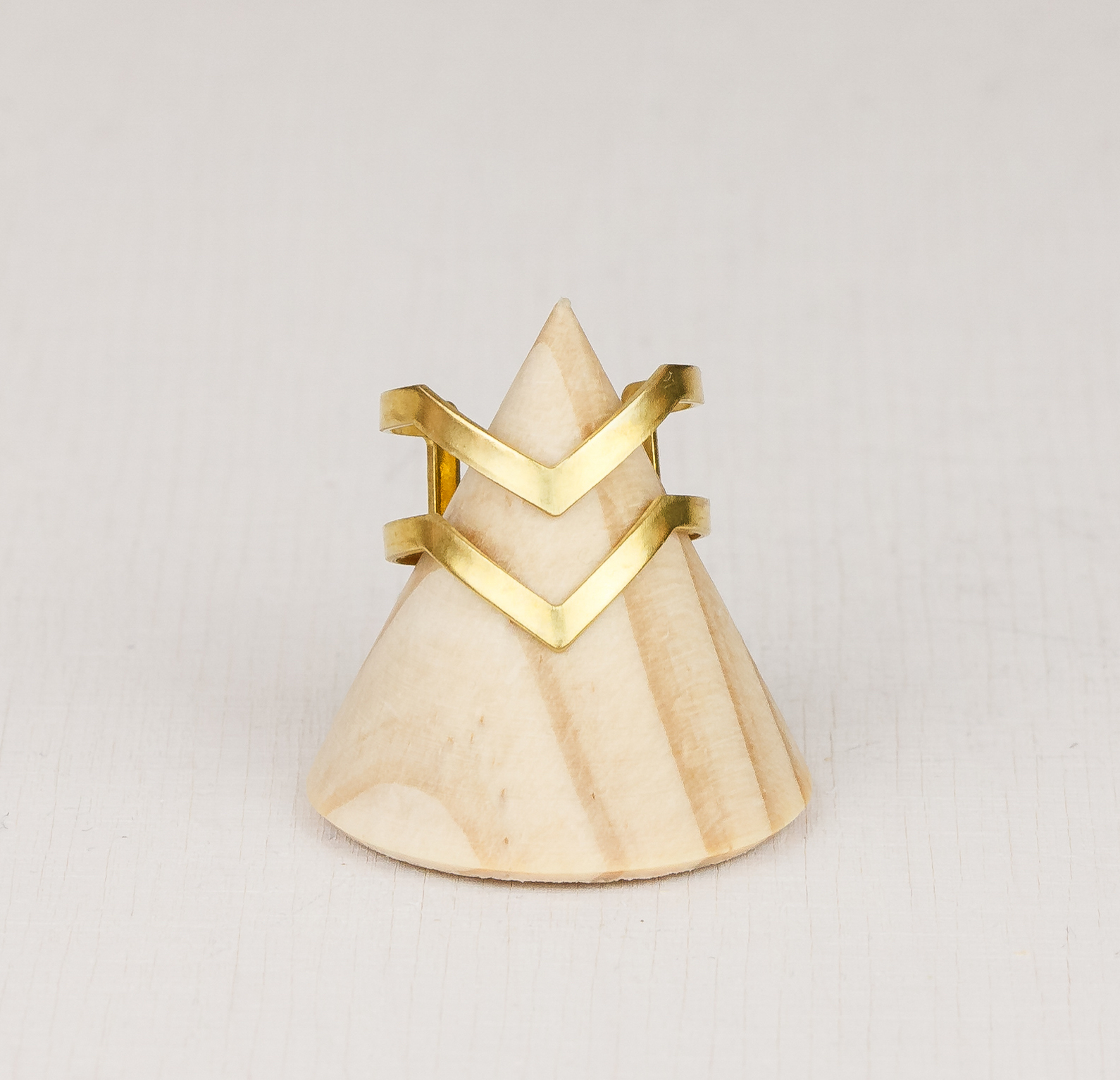 Chevron Adjustable Brass Ring by State of A