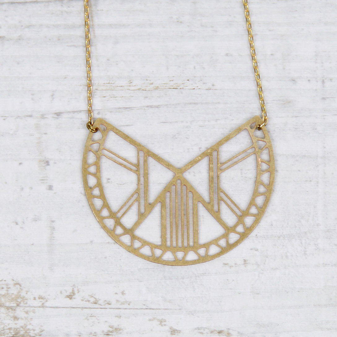 Semi-circular Cut Brass Necklace by State of A