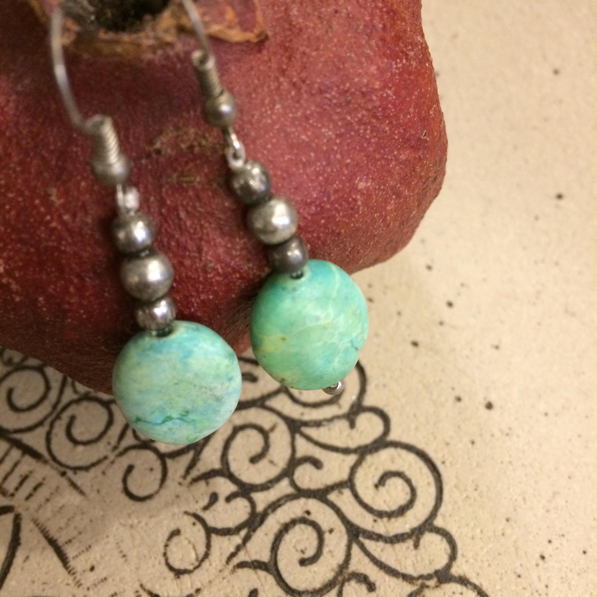 Moroccan Pale Green Stone & Bead Earrings