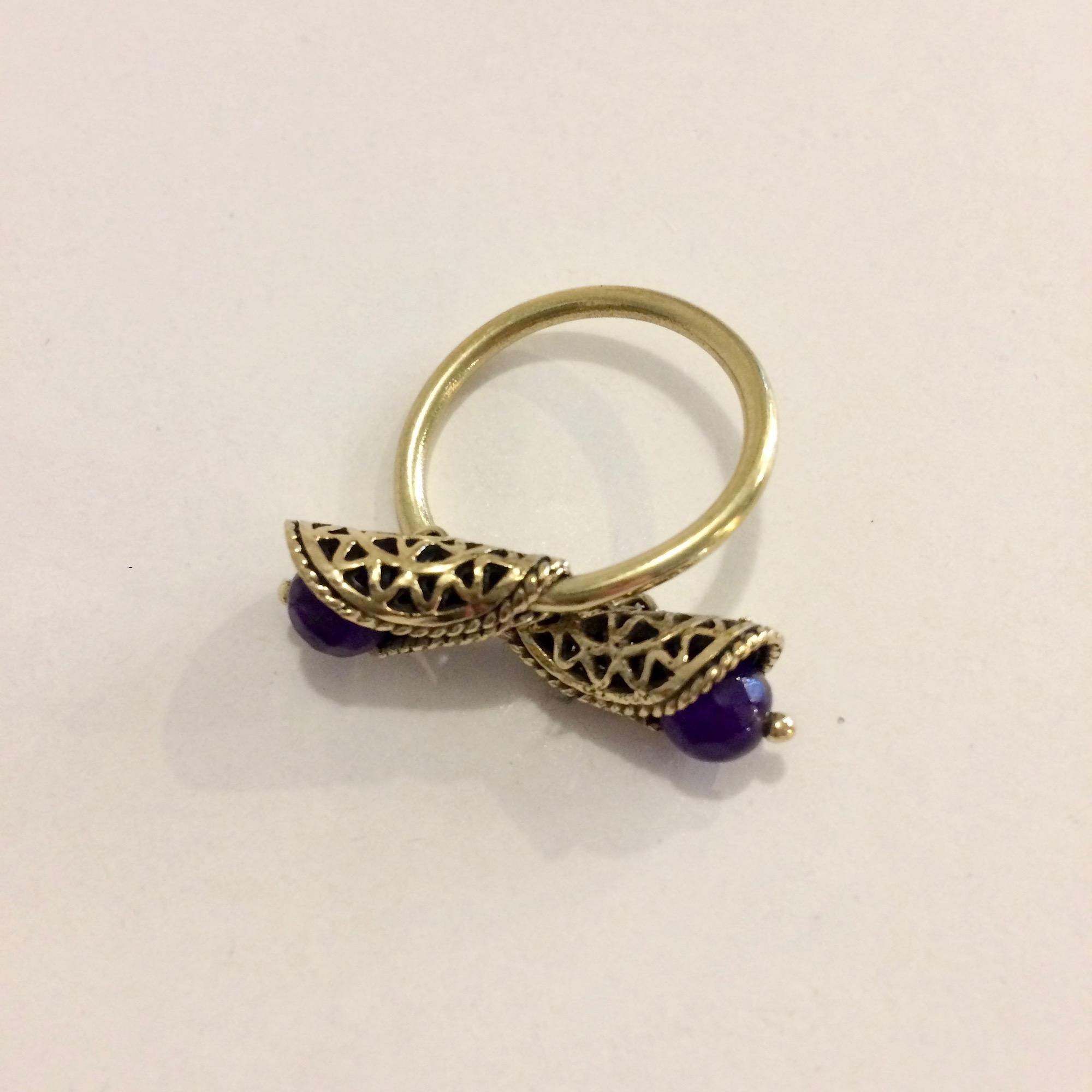 Egyptian Brass Curled Mandala & Bead Ring