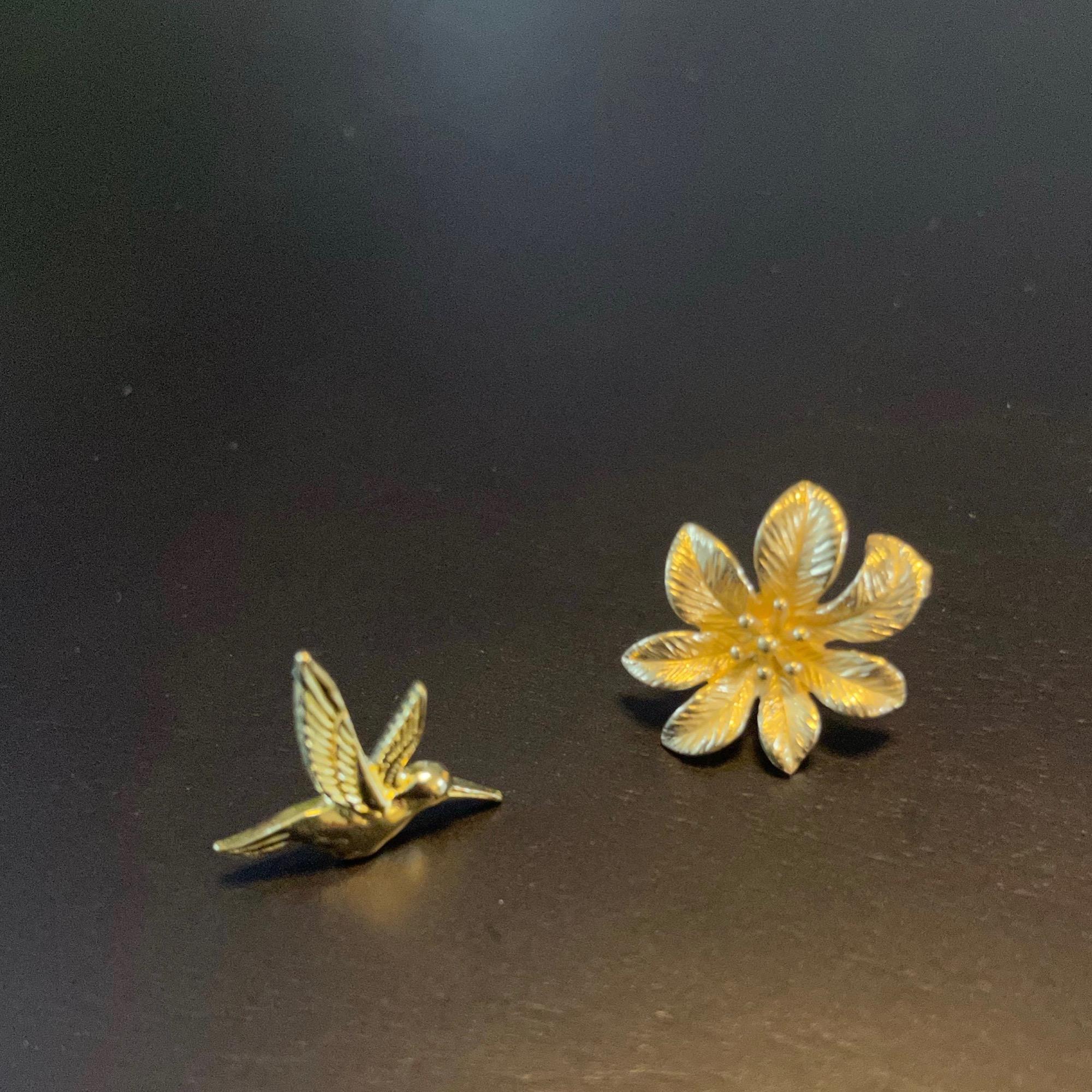 Irth Mis-match Brass Bird & Flower Studs