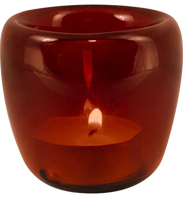 Spanish Orange Handblown Glass Tealight Holder