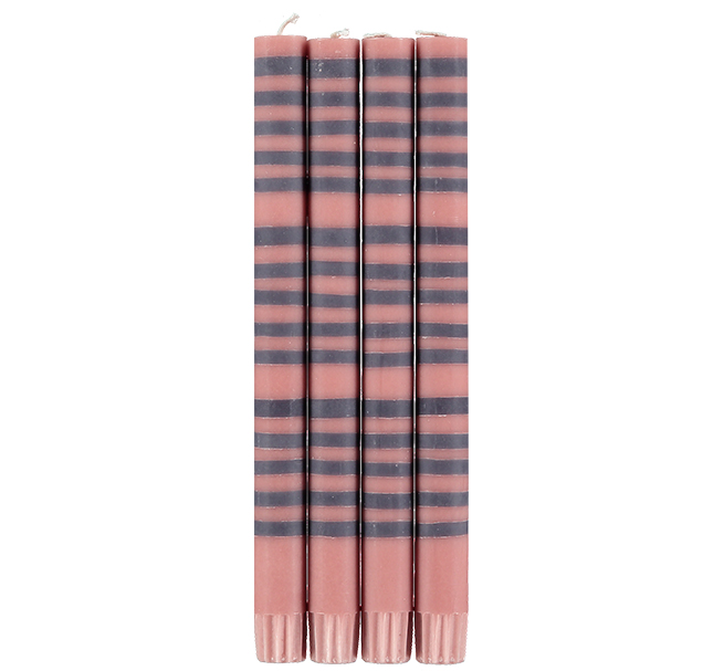 Old Rose & Gunmetal Set of 4 Striped Eco Dinner Candles by British Colour Standard