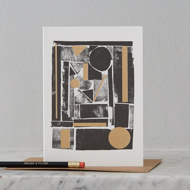 Black & Gold Foil Abstract Card by Pressed & Folded