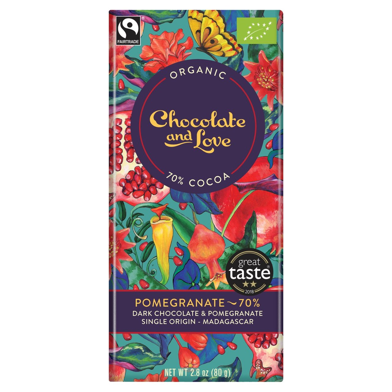 Pomegranate Chocolate & Love Organic Fairtrade Chocolate Bar