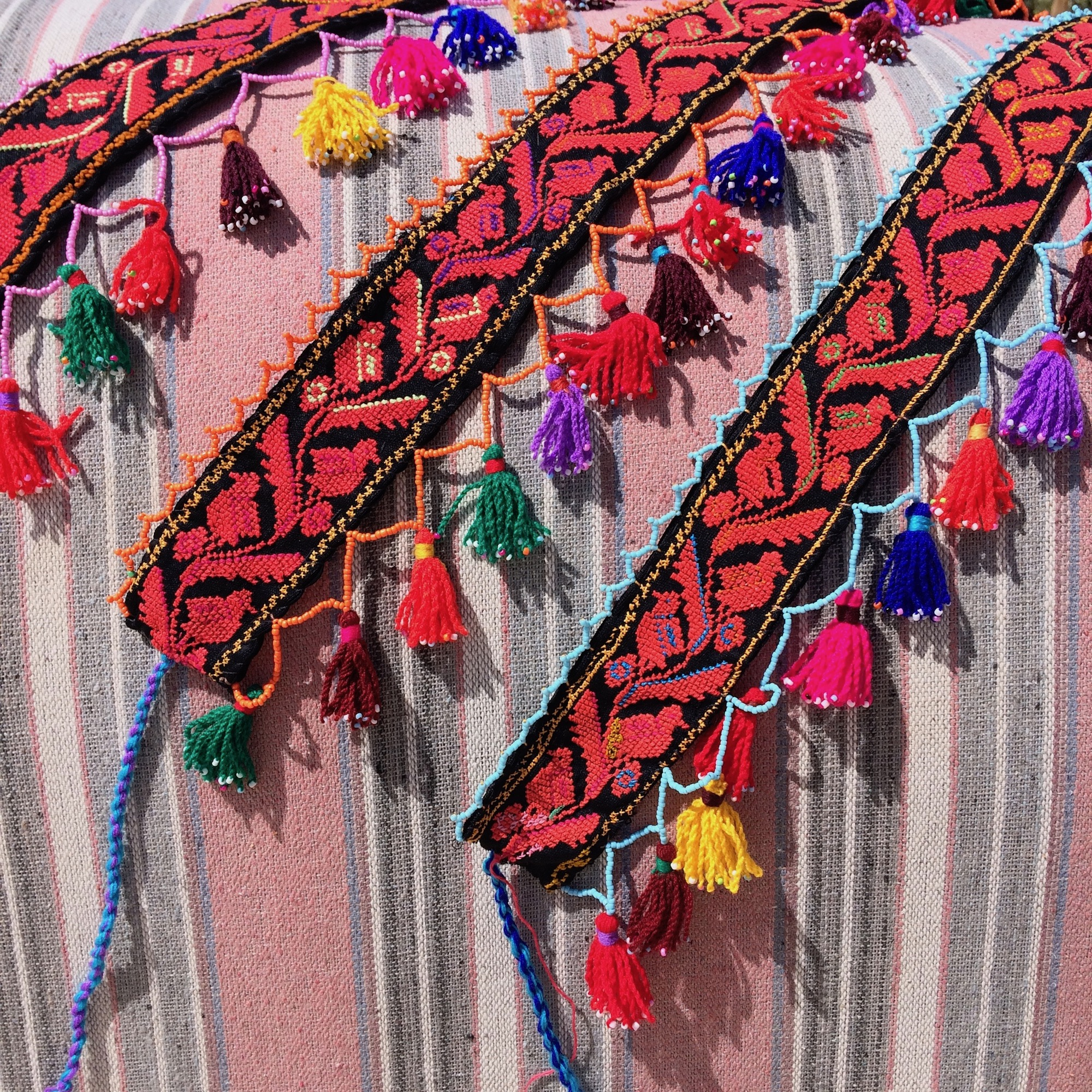 Bedouin Bird & Leaf Embroidered Panel with Tassels