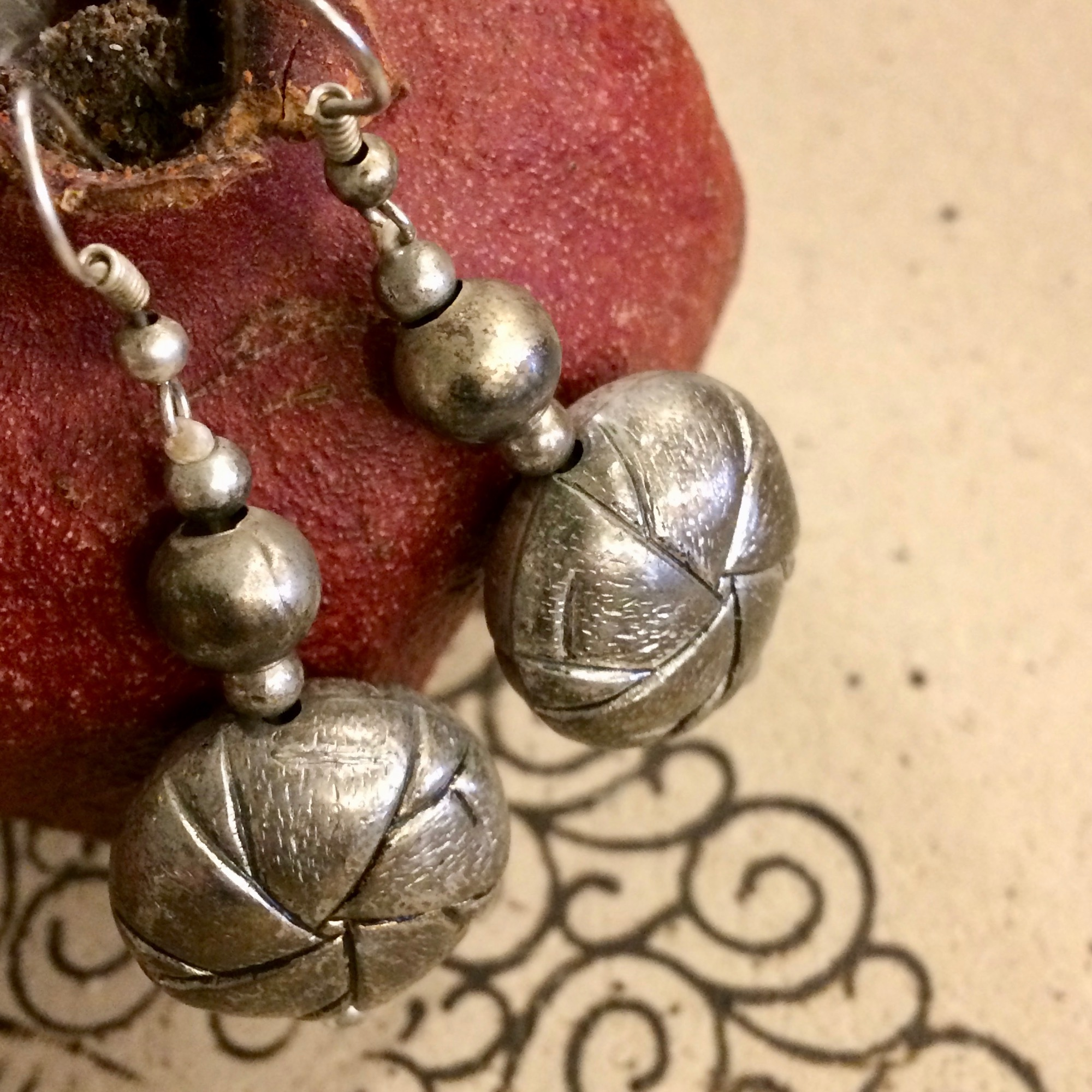 Moroccan Etched Metal Knotted Bead Earrings