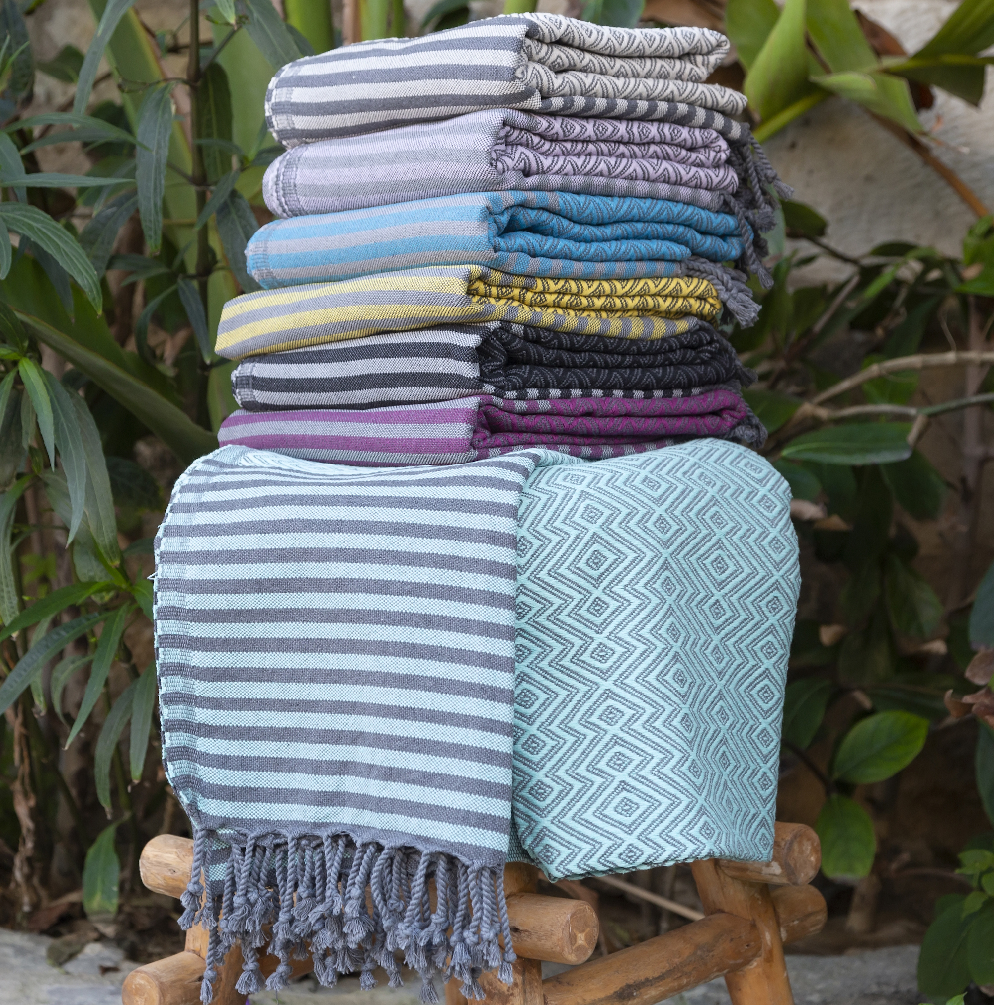 Hammam Towel in Mint Green & Grey
