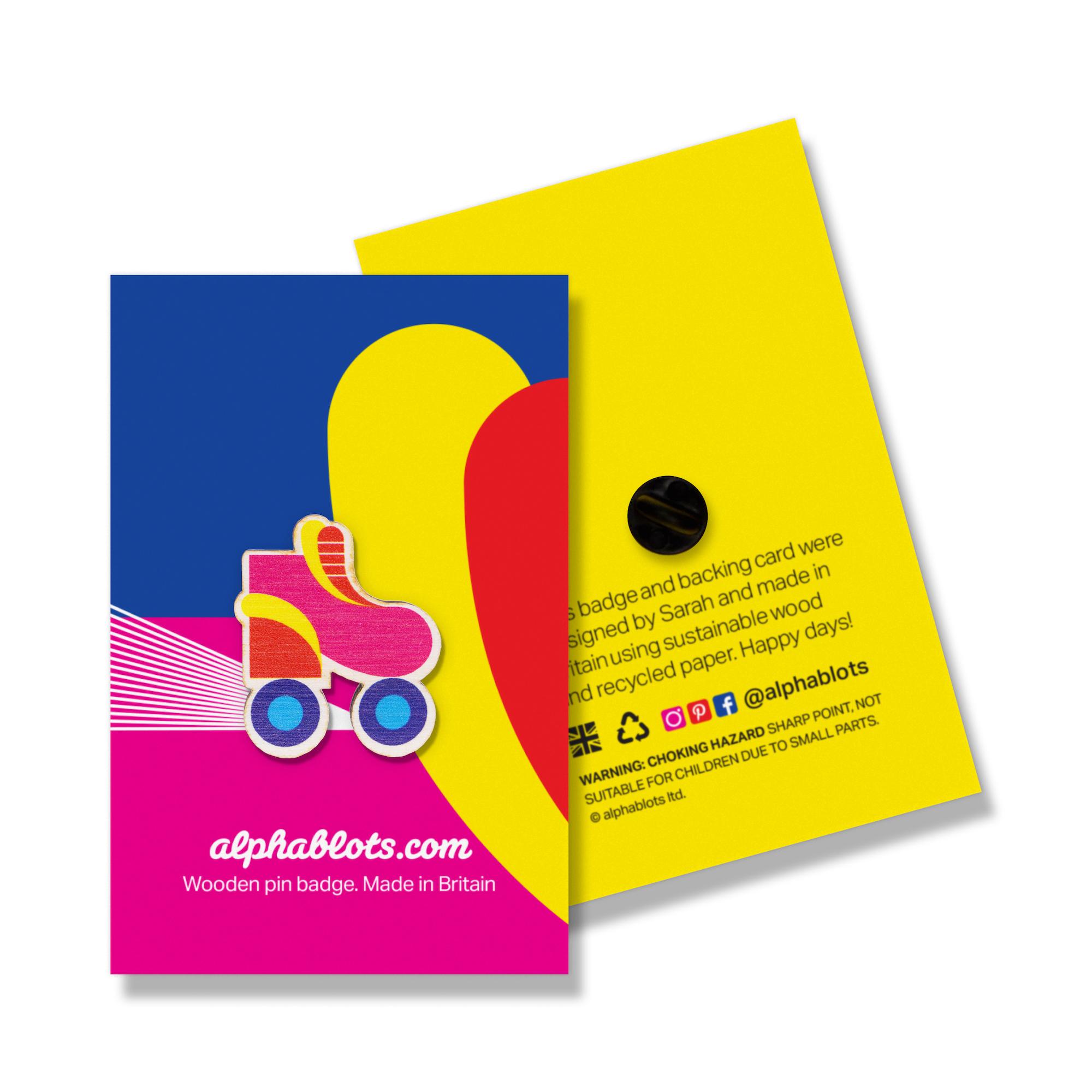 Rollerskate Pin Badge by Alphablots