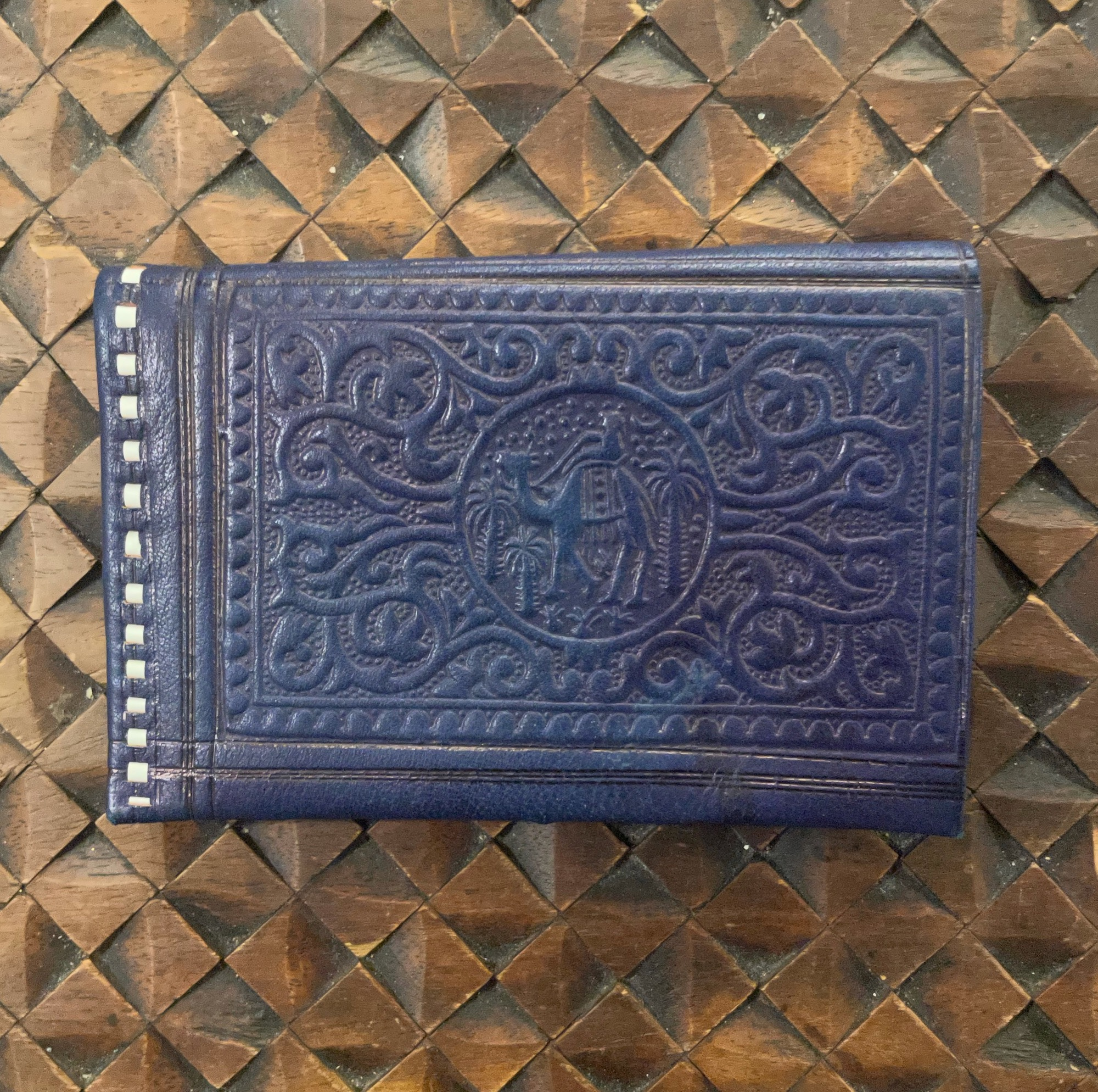 Moroccan Blue Tooled Leather Wallet