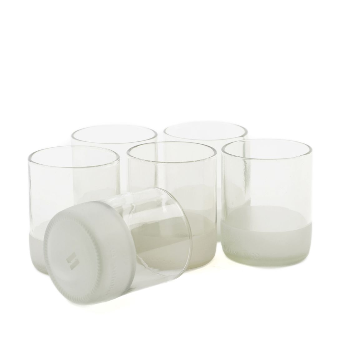 Clear Set of Short IWAS Upcycled Drinking Glasses