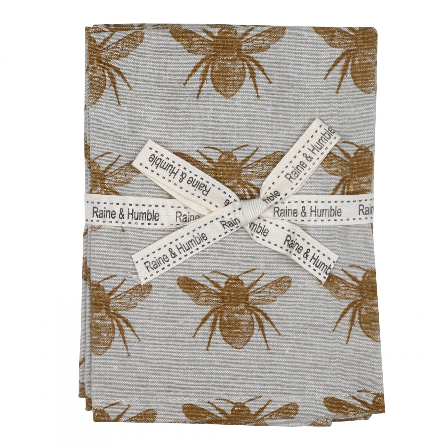 Set of 4 Honey Bee Cloth Napkins in Mustard Yellow