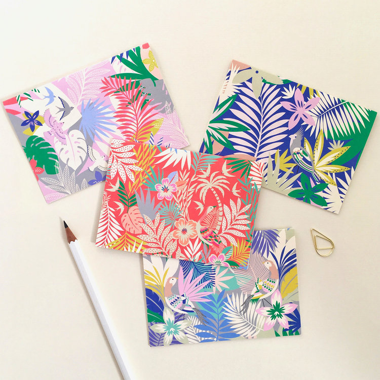 Set of 8 Tropicana Mini Notecards by Elvira Van Vredenburgh