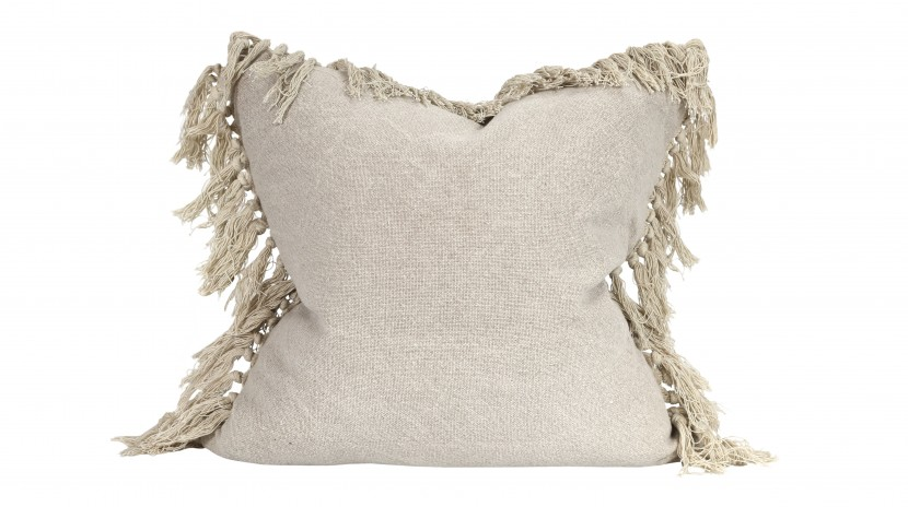 Raine & Humble Jute Tassel Cushion in Taupe