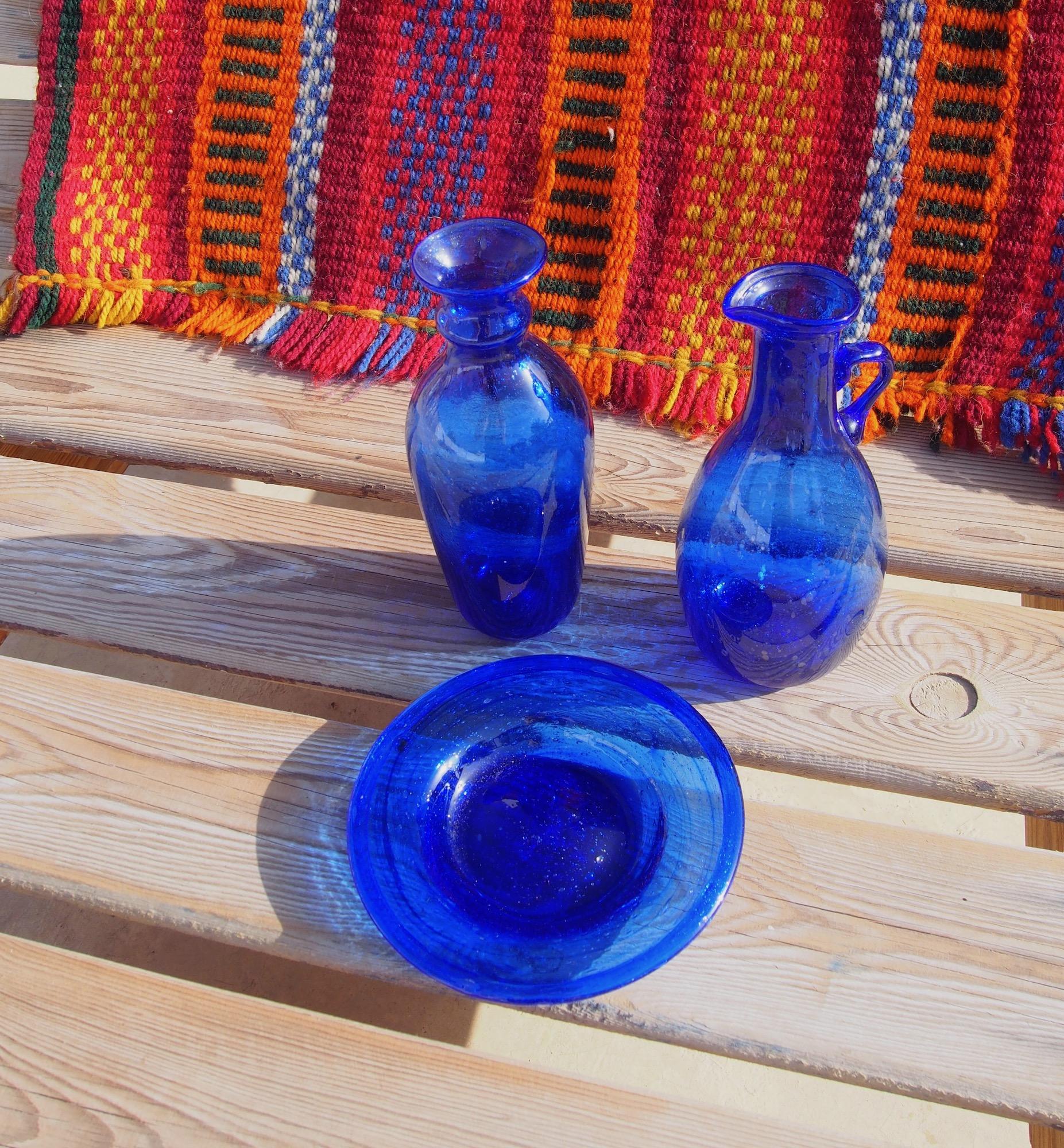 Egyptian Blue Glass Small Shallow Dish