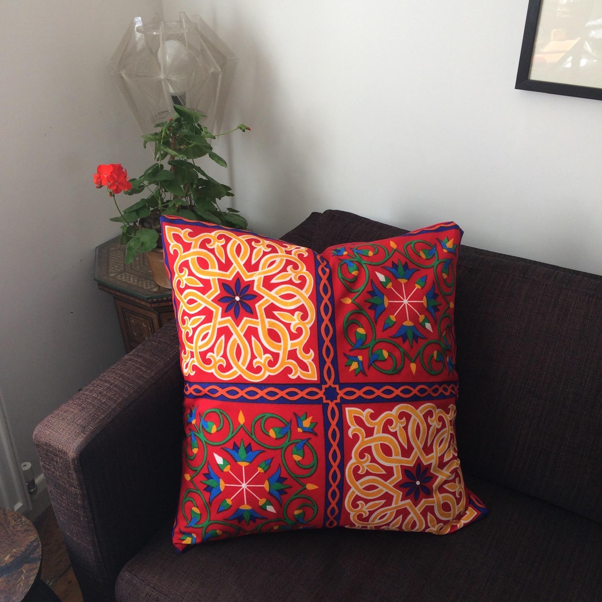 Large Red Egyptian Ramadan Pattern Cushion