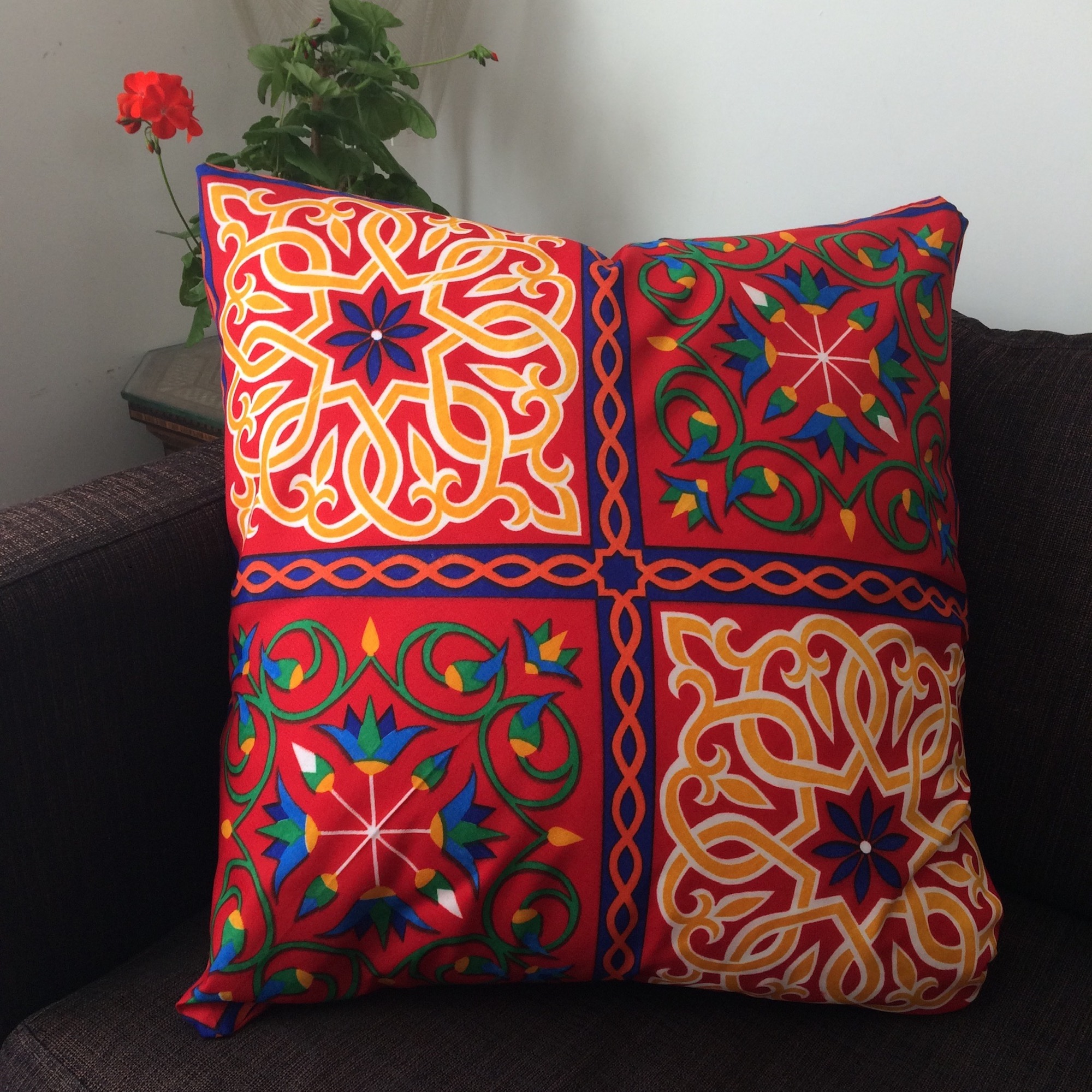 Large Red Egyptian Ramadan Pattern Cushion