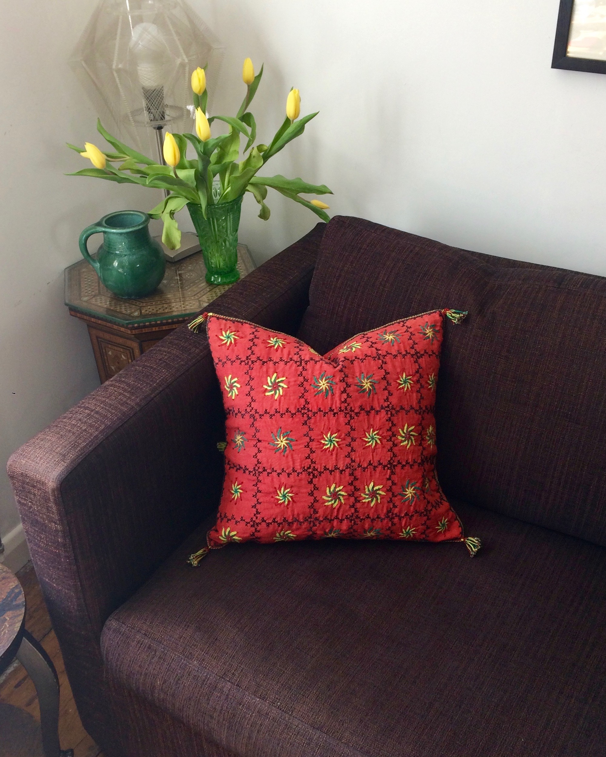 Bedouin Embroidered & Beaded Cushion Cover in Deep Pink