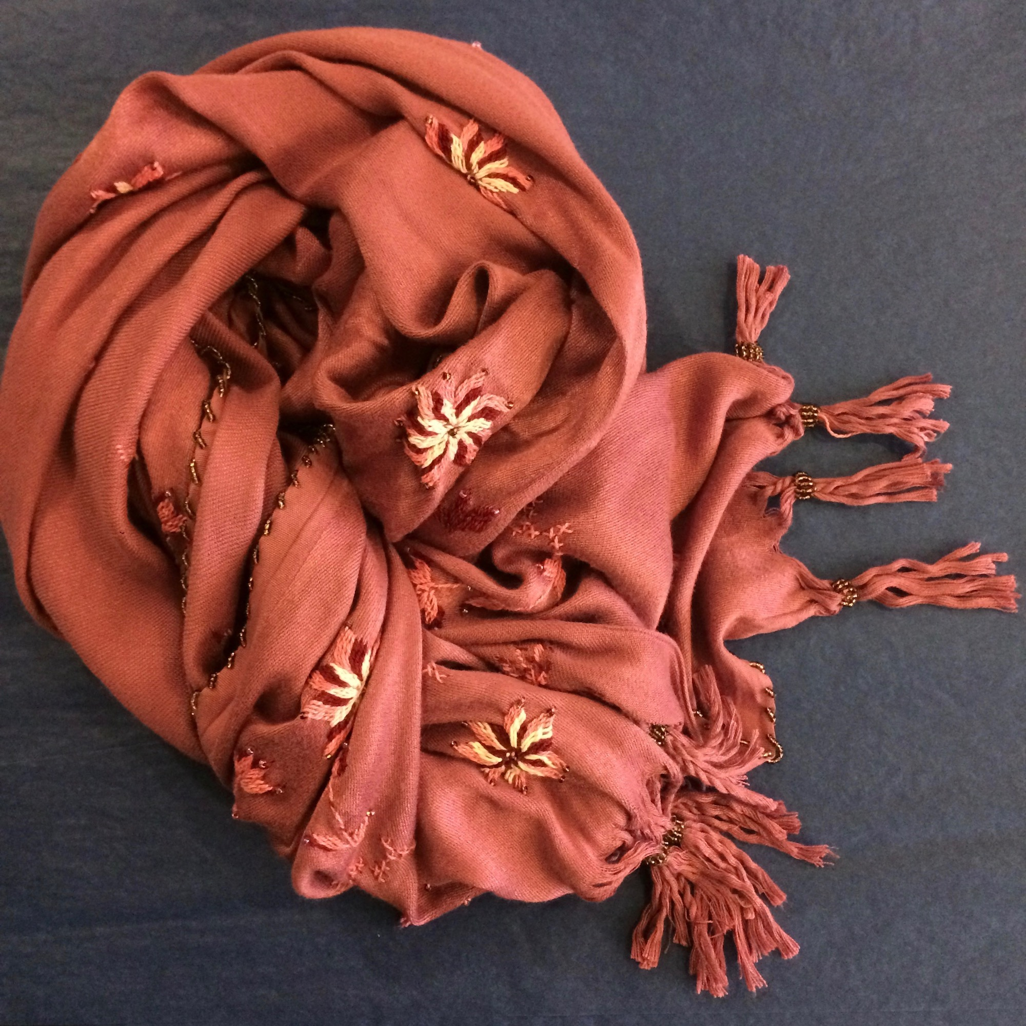 Bedouin Hand-embroidered Pink Shawl