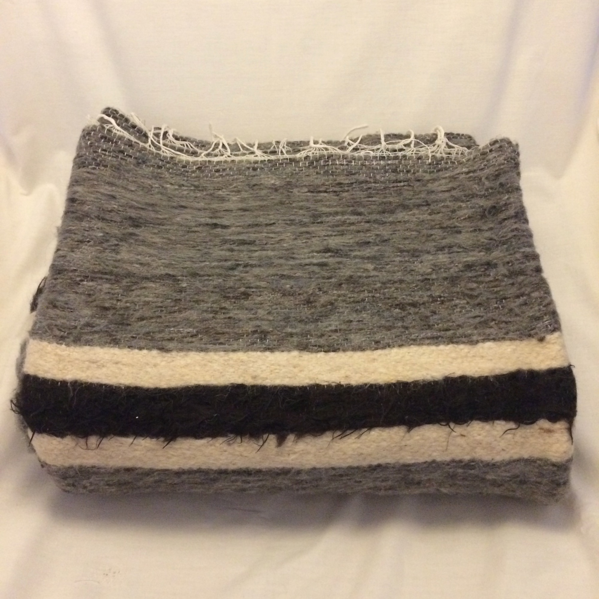 Handwoven Large Bedouin Grey Wool Throw with striped edge