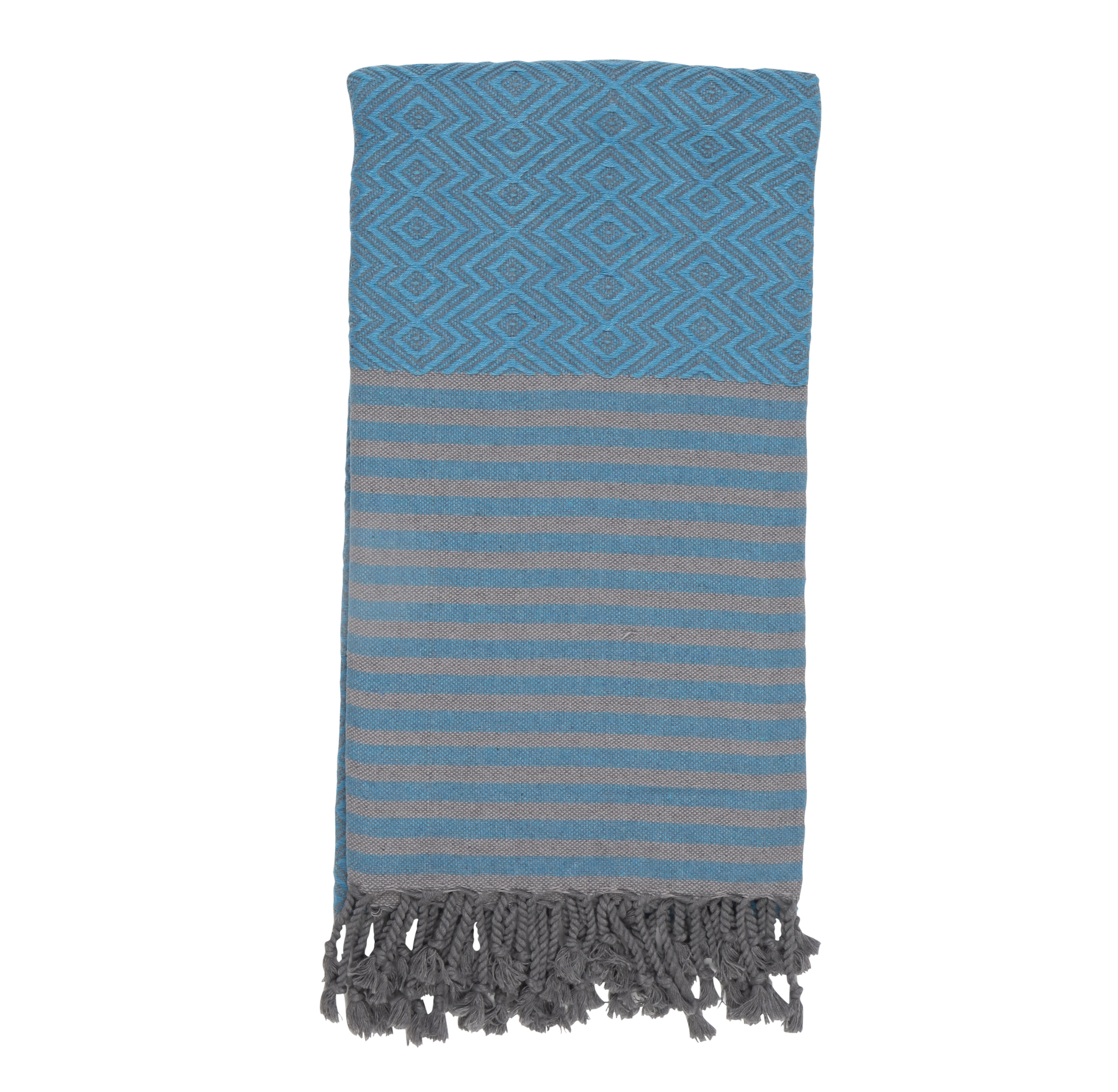 Hammam Towel in Turquoise Blue & Grey