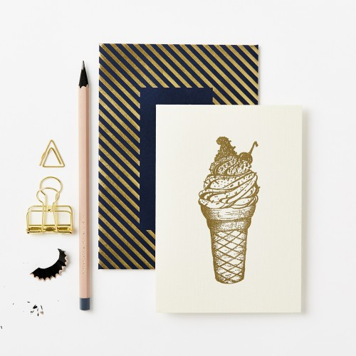 Gold Ice Cream Luxe Card by Katie Leamon - Sale.