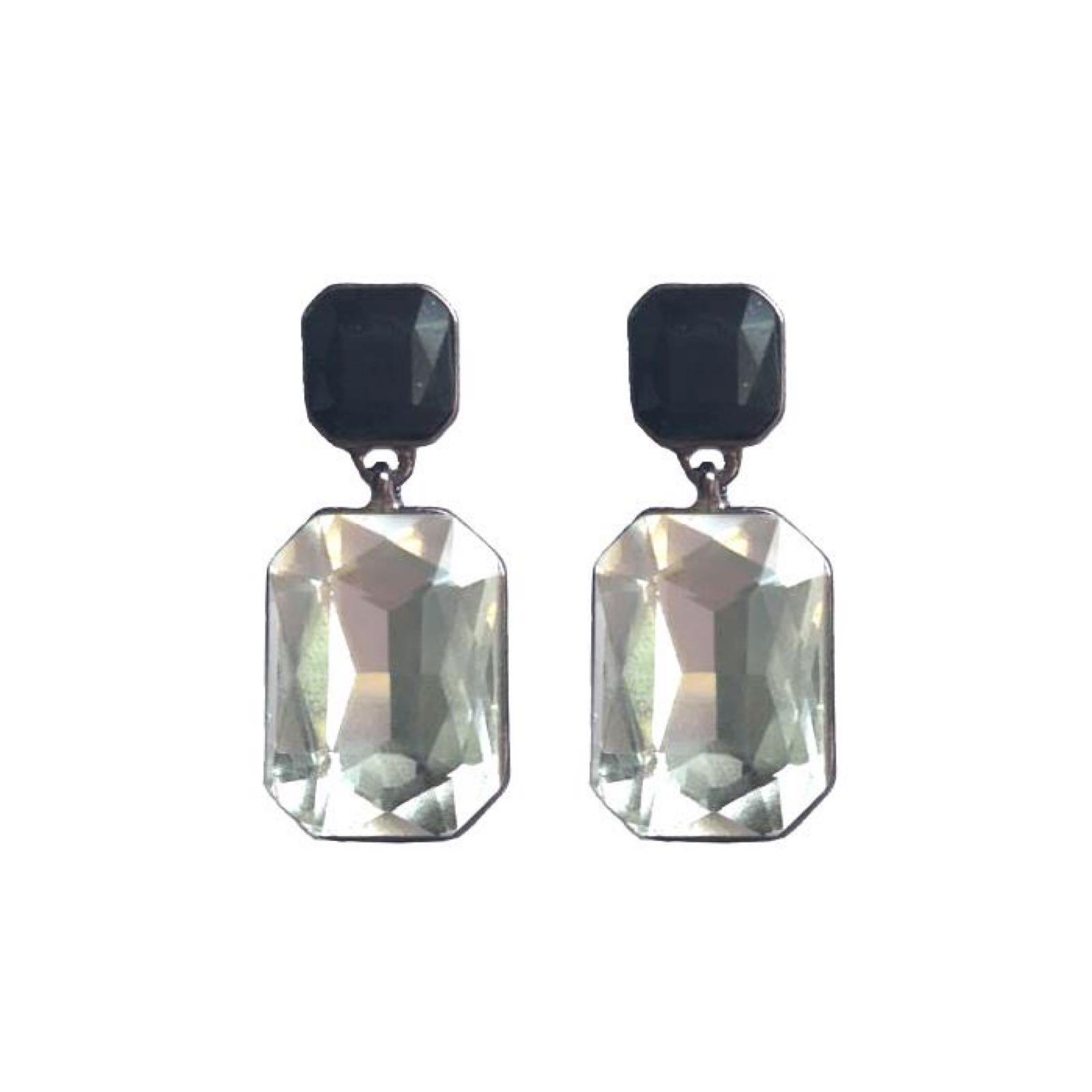 Last true angel black and crystal gem earrings