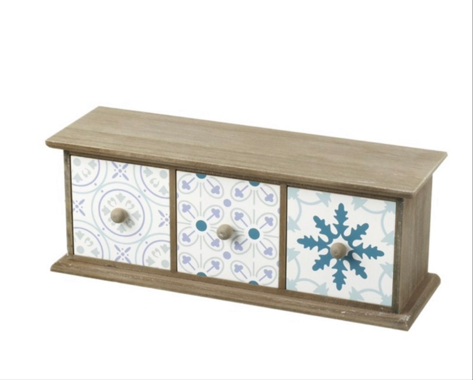 Patterned wooden 3 drawers