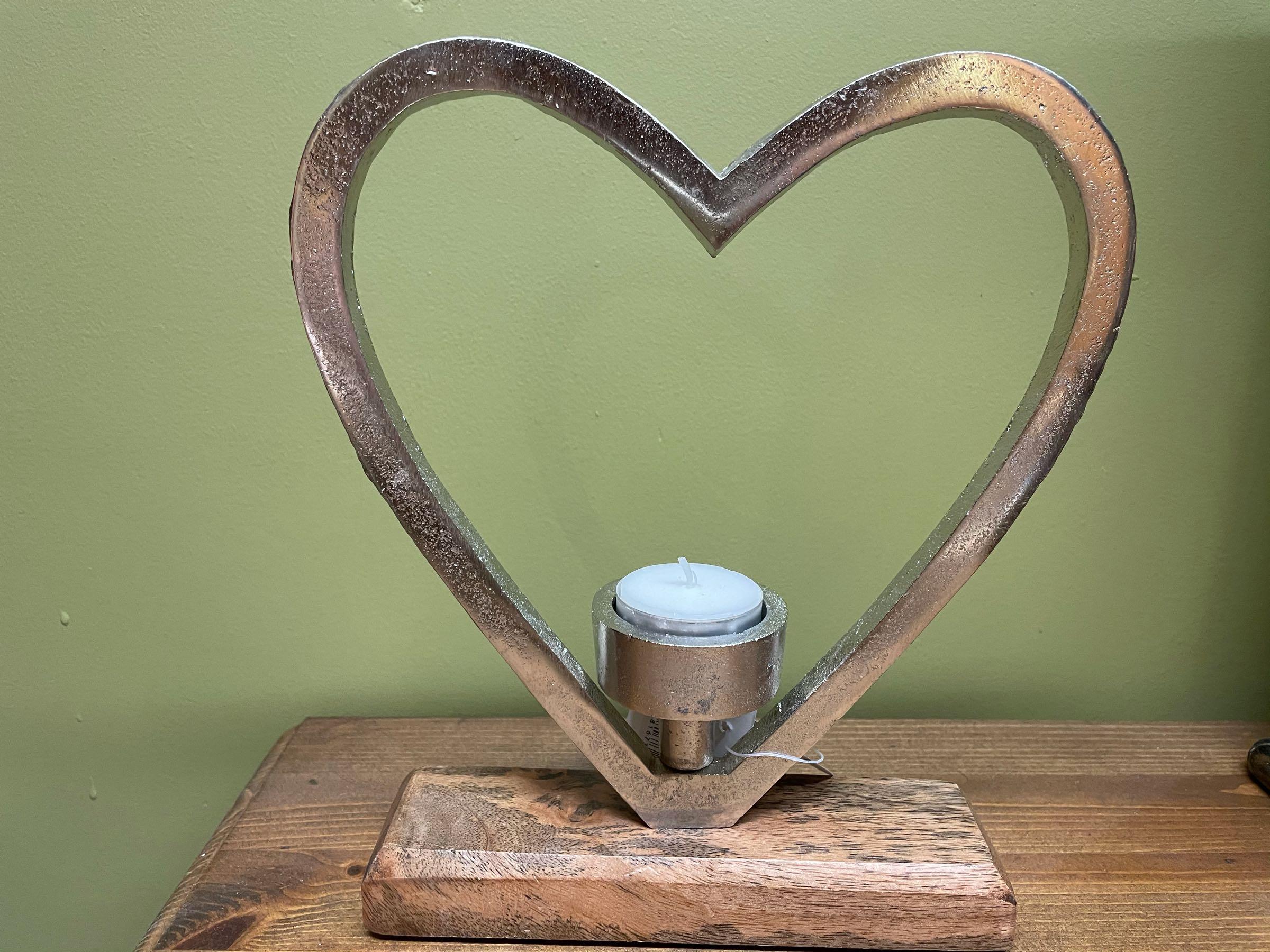 Aluminium 25cm single heart tealight