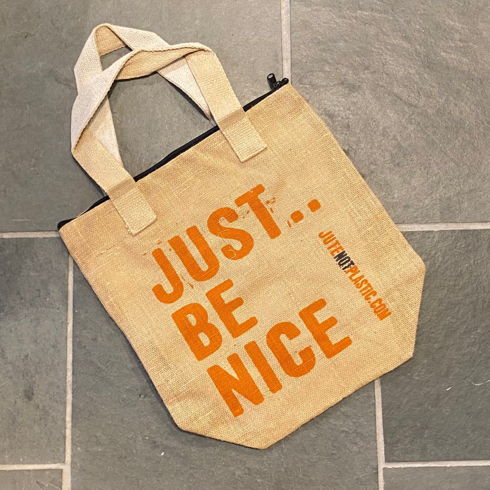 'Just Be Nice' Eco Jute Bag - Orange