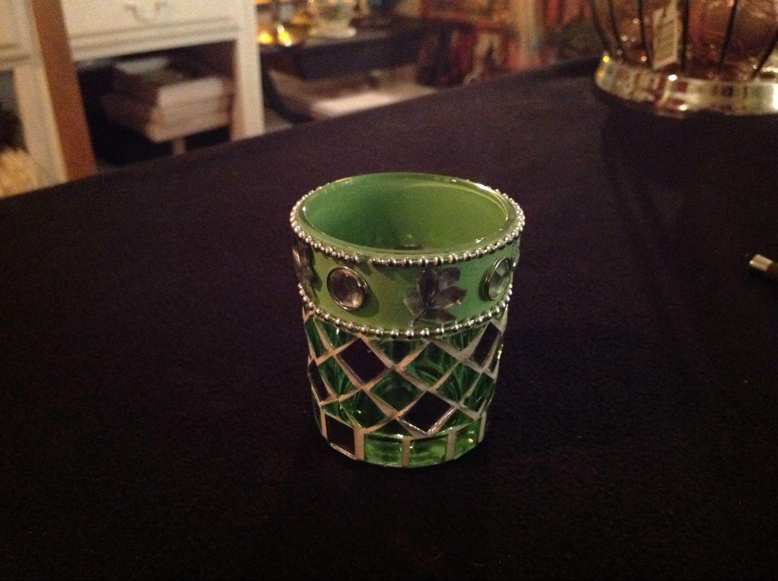 Ljuslykta grön mosaik (second hand, vintage, retro)