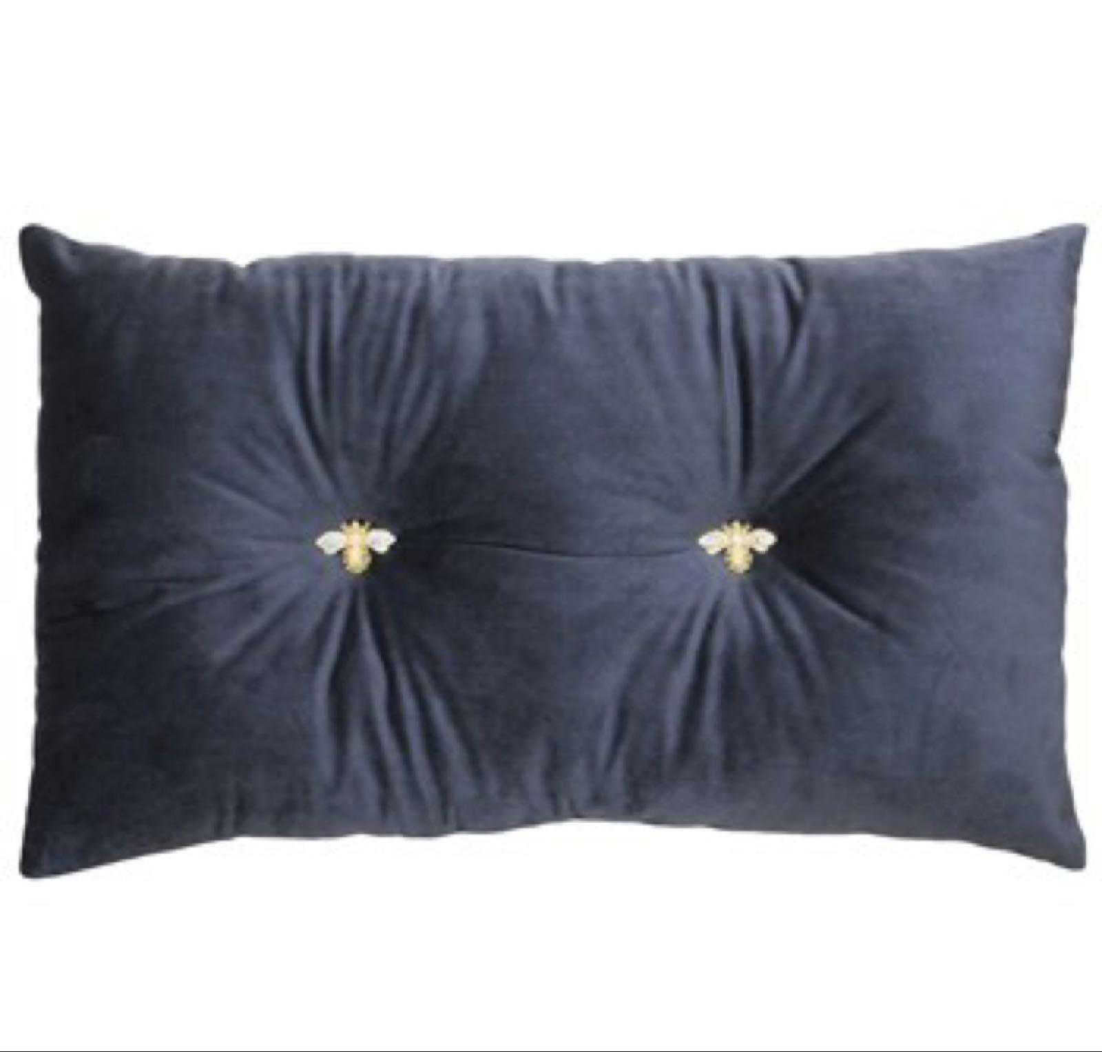 Charcoal Bumble Bee Cushion 47cm x30cm