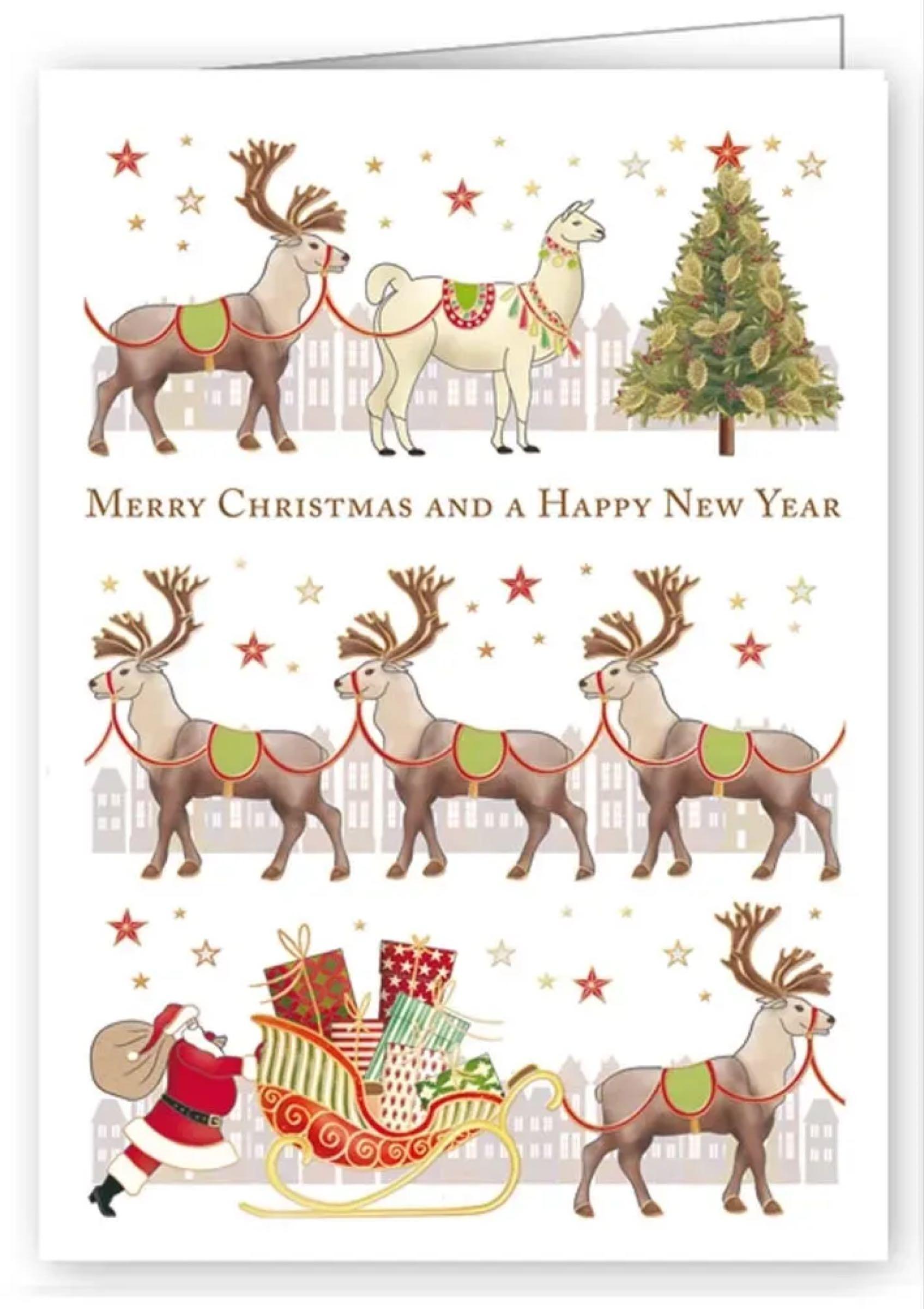 Christmas Mini Card – Santa, Reindeers & Llama