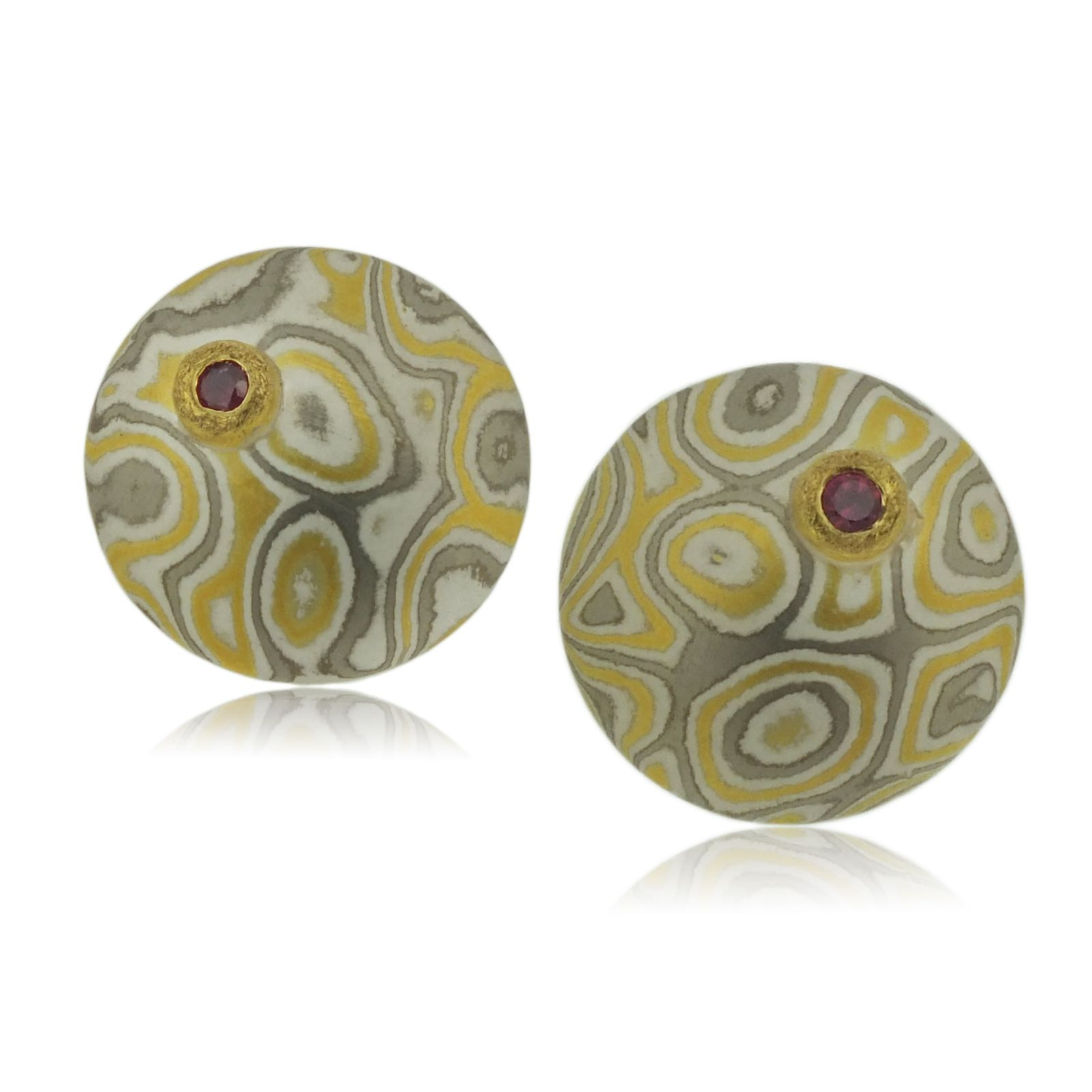22k gold, 18k white gold and silver mokume gane medium Discus stud earrings with rubies