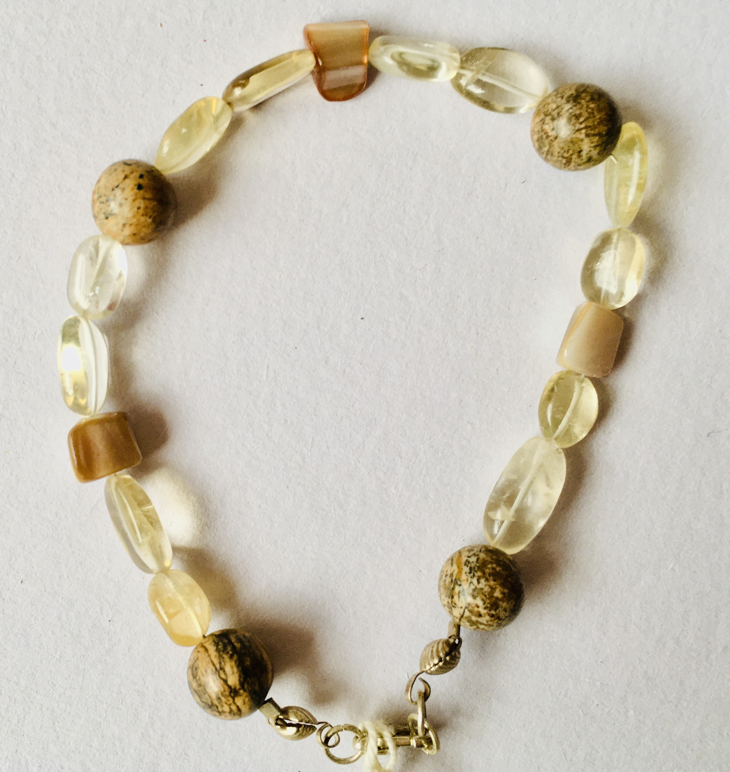 Brown and Clear Beaded Bracelet