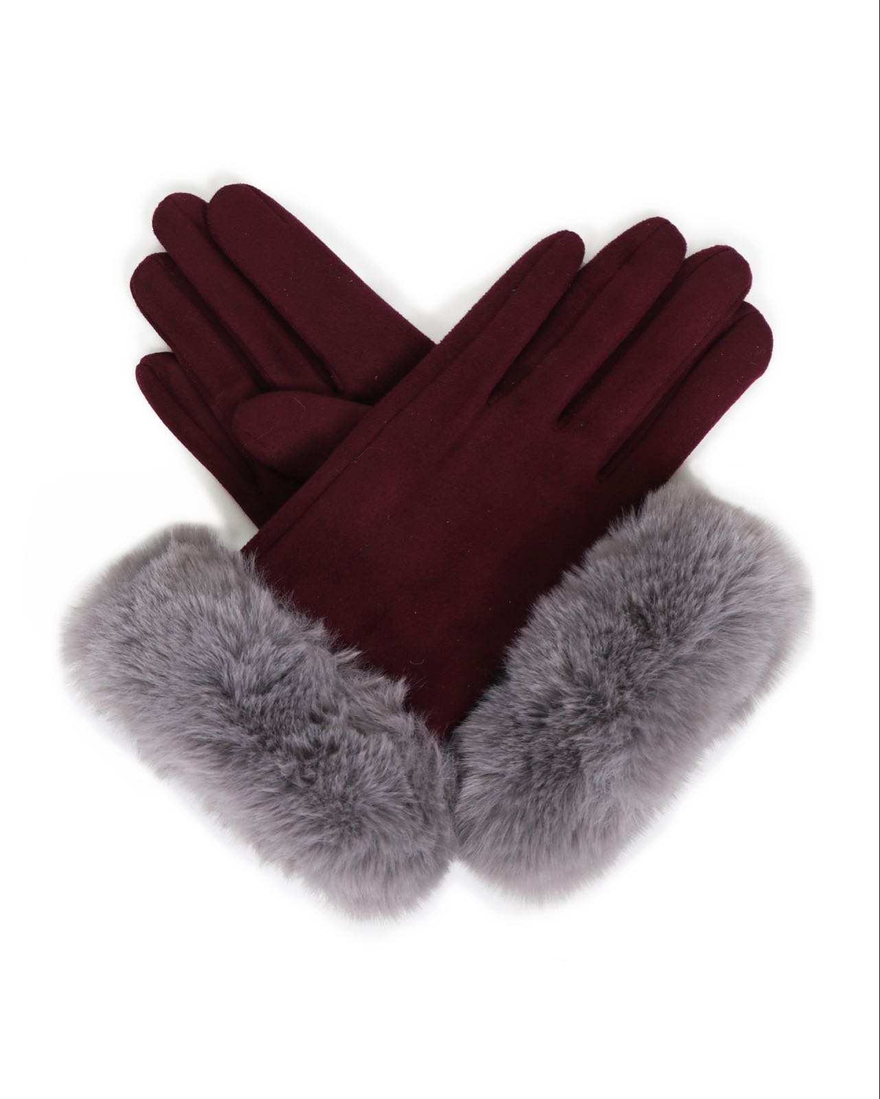 Powder Bettina Magenta faux suede Gloves with faux fur in slate
