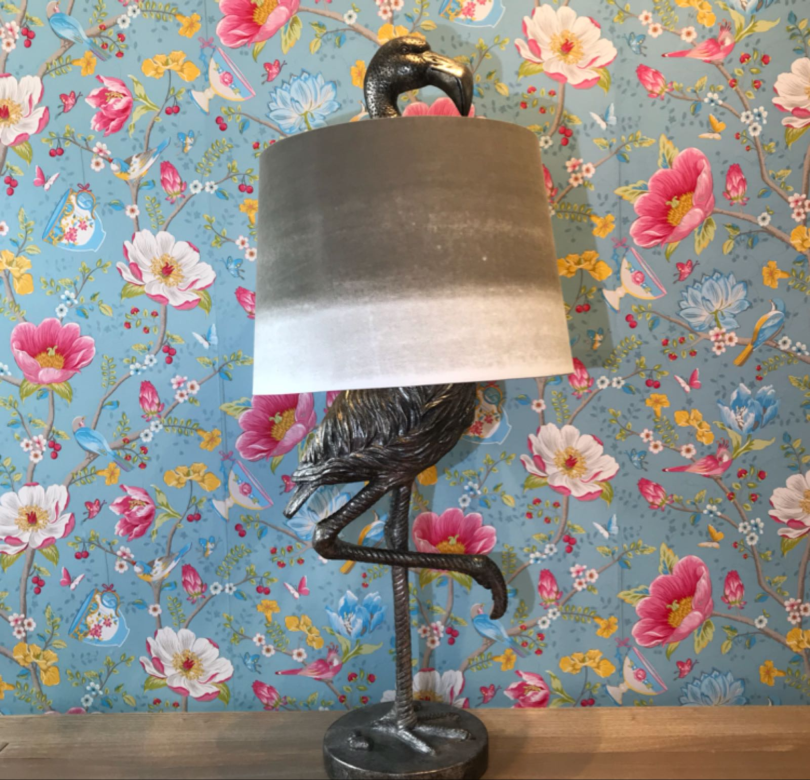Sage silver flamingo lamp large 83 cm x 35 cm