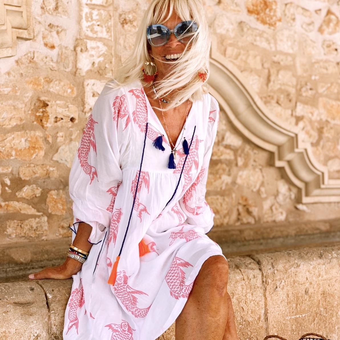 "Dress ""white pink Koi"""