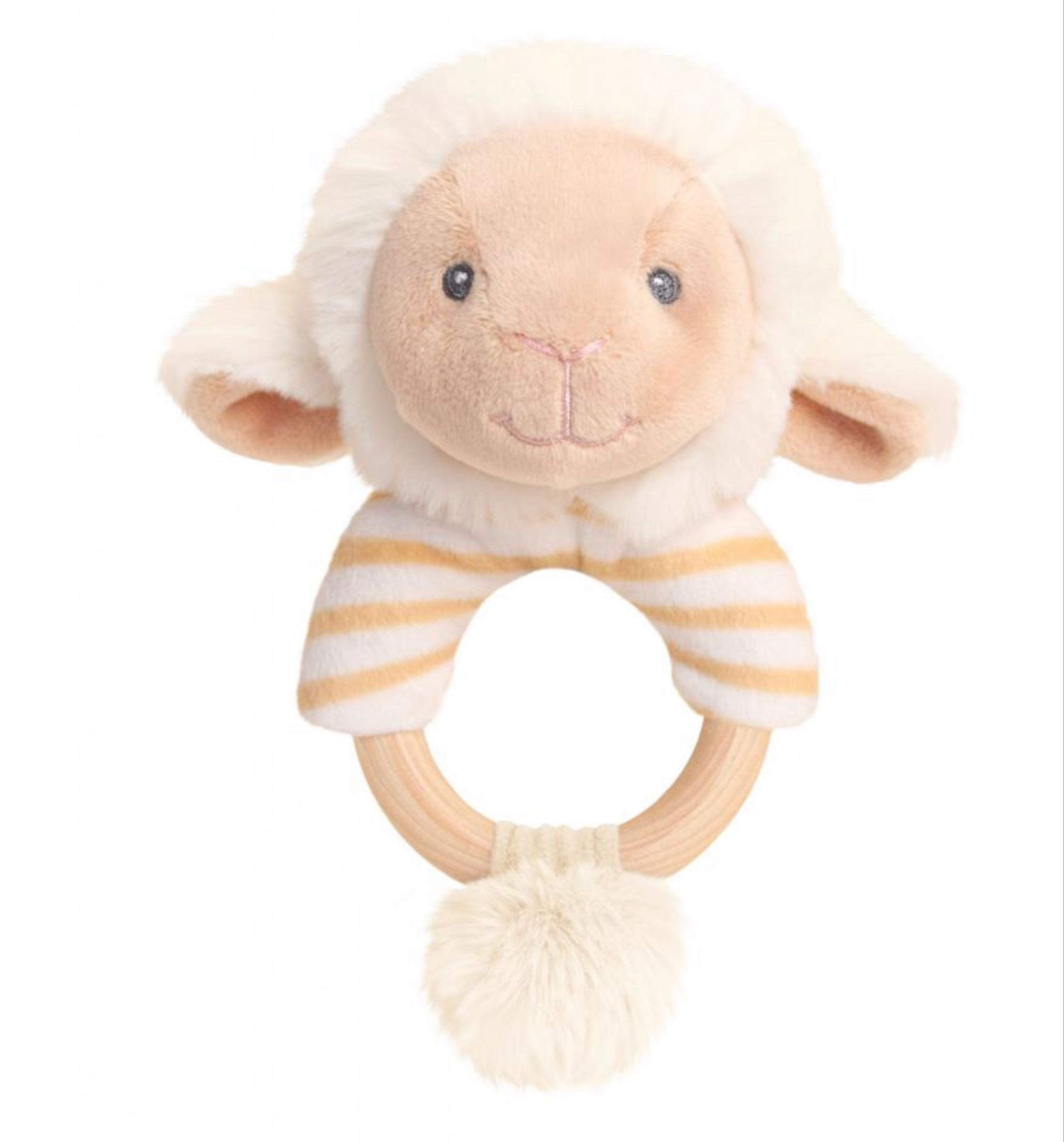 14cm Eco Lullaby Lamb Ring Rattle