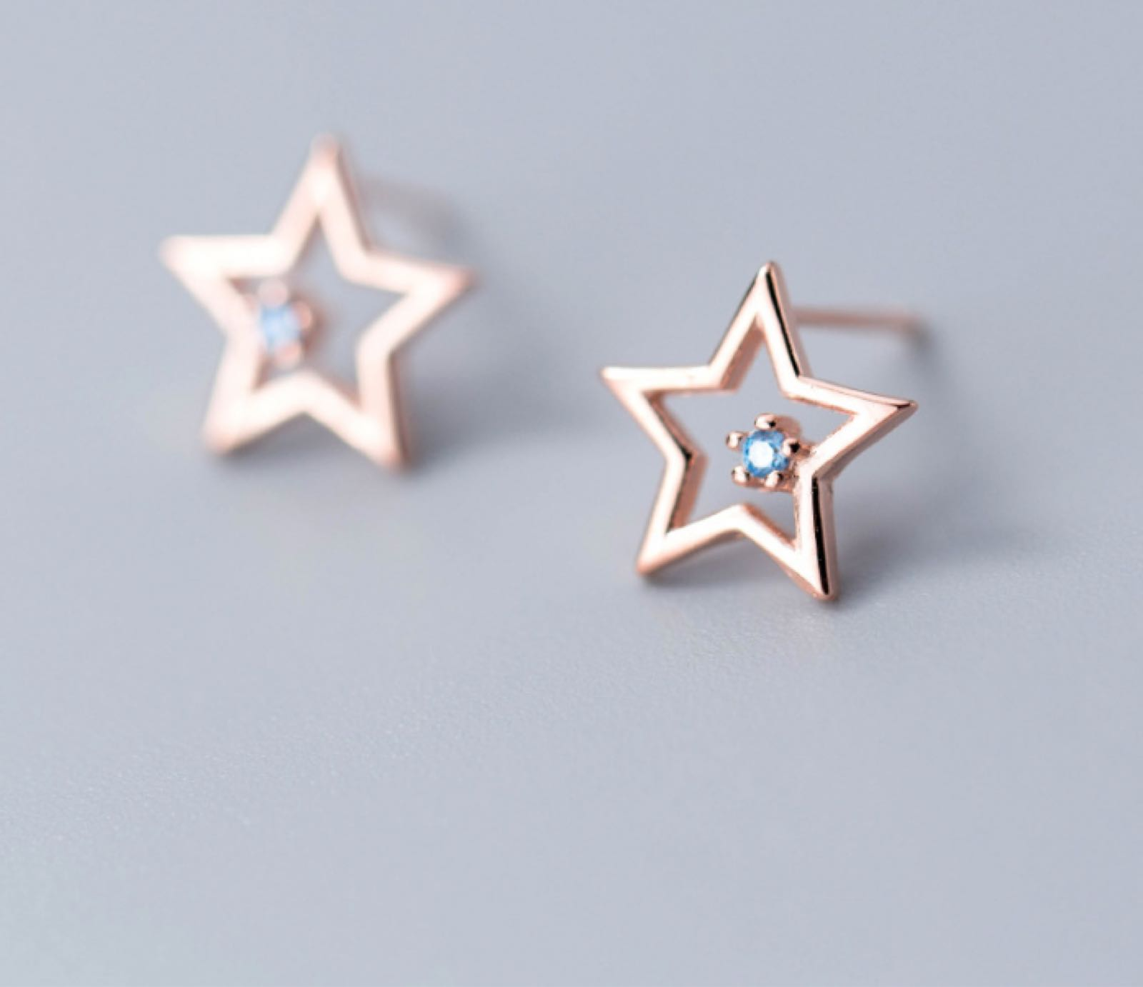 White leaf sterling silver rose gold stars with blue stud earrings EAQ132R