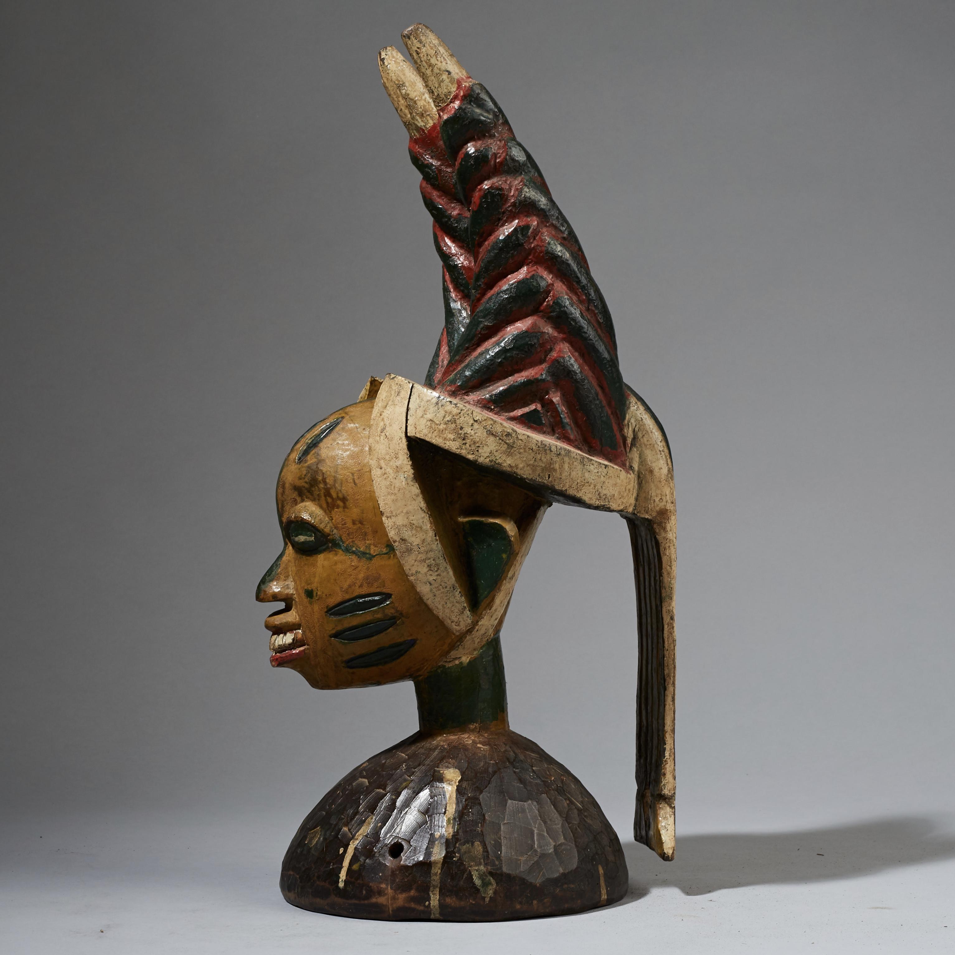 A SUPERB YORUBA POLYCHROME HEADDRESS FROM YORUBA TRIBE, NIGERIA ( No 2398 )